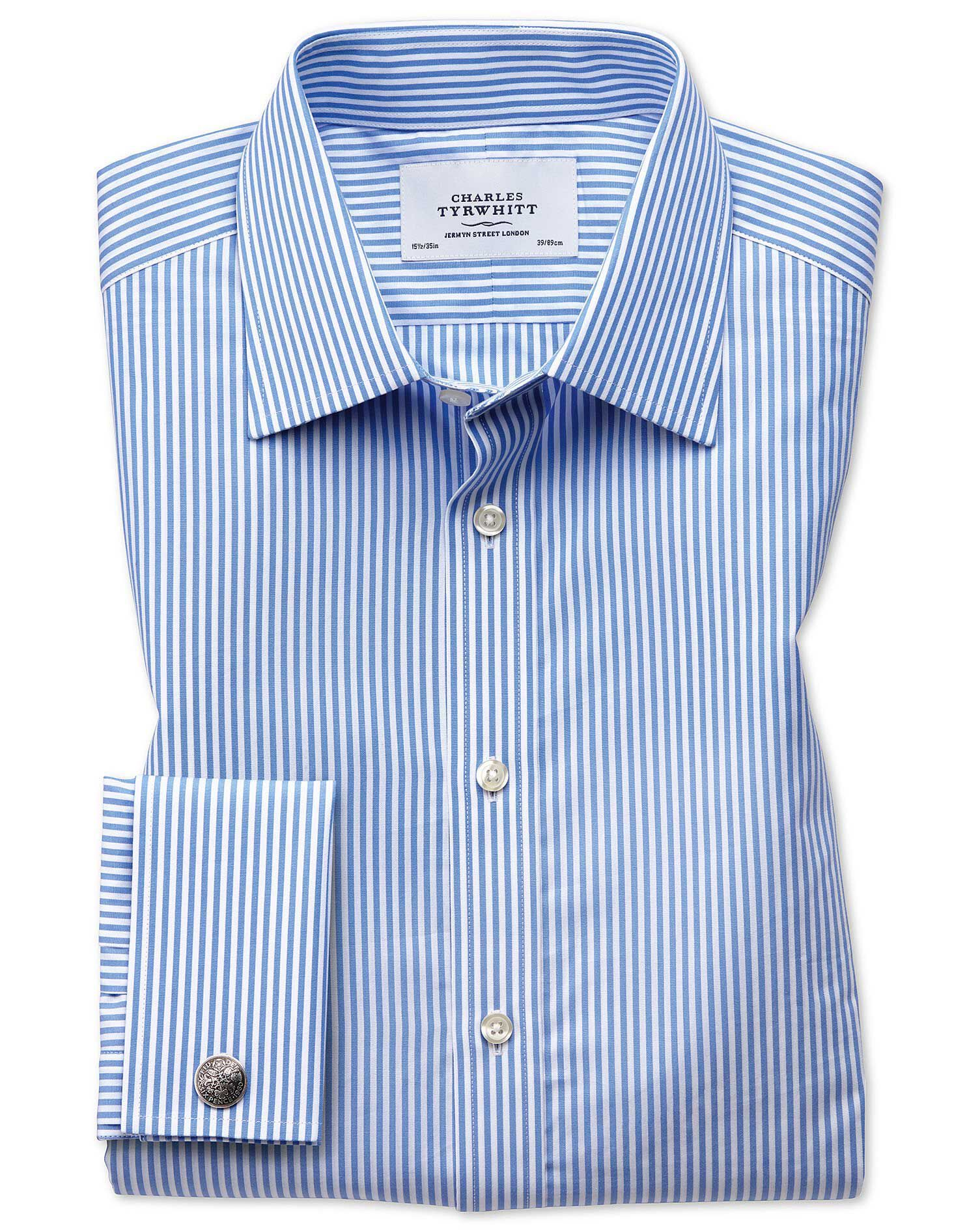 Classic Fit Bengal Stripe Sky Blue Cotton Formal Shirt Double Cuff Size 16/35 by Charles Tyrwhitt