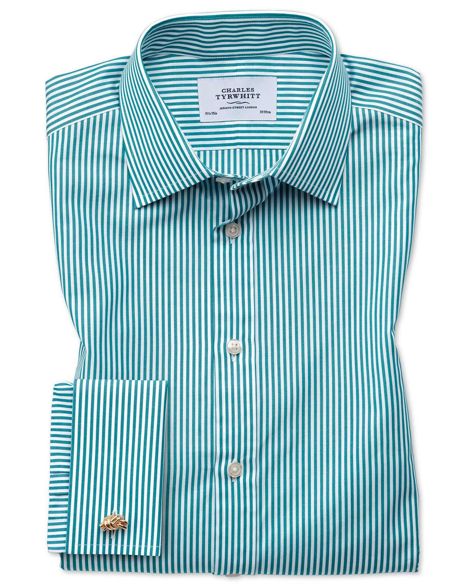 Slim Fit Bengal Stripe Green Cotton Formal Shirt Double Cuff Size 17.5/34 by Charles Tyrwhitt