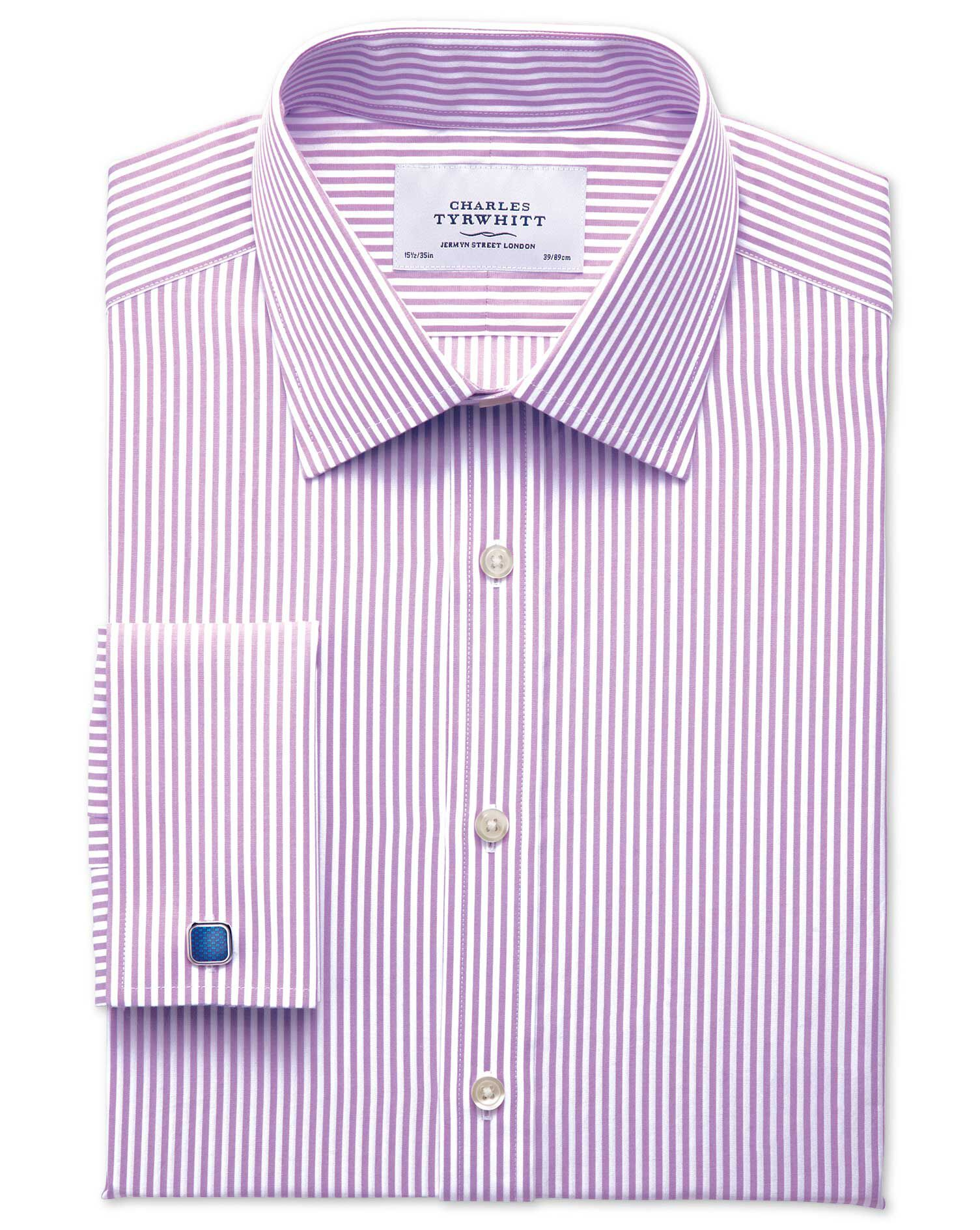 Slim Fit Bengal Stripe Lilac Cotton Formal Shirt Double Cuff Size 16.5/36 by Charles Tyrwhitt