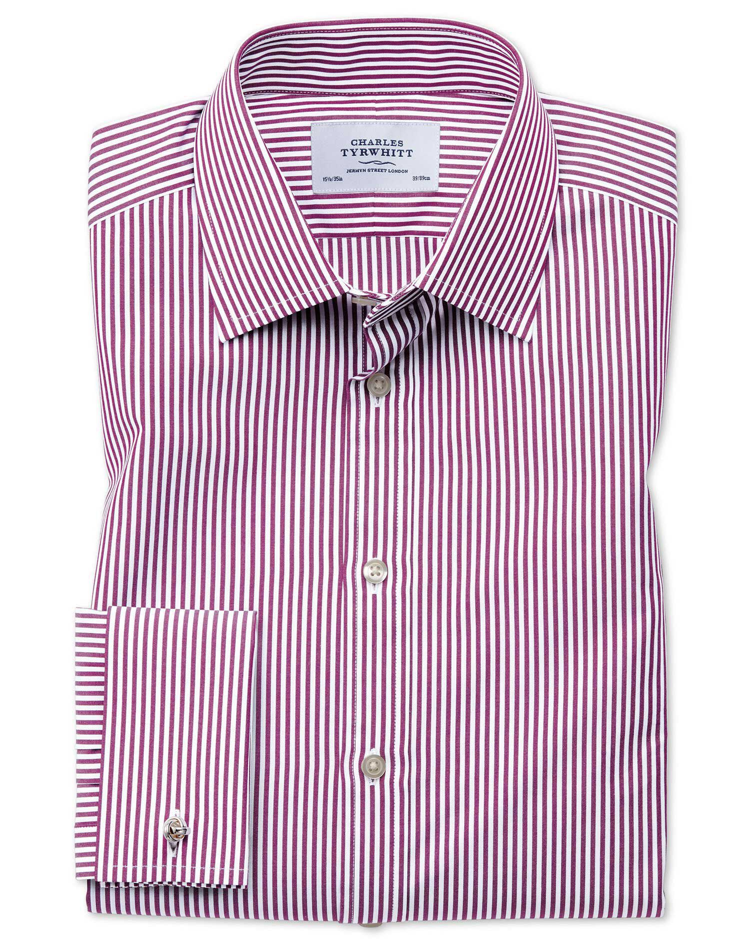 Slim Fit Bengal Stripe Purple Cotton Formal Shirt Double Cuff Size 17.5/35 by Charles Tyrwhitt