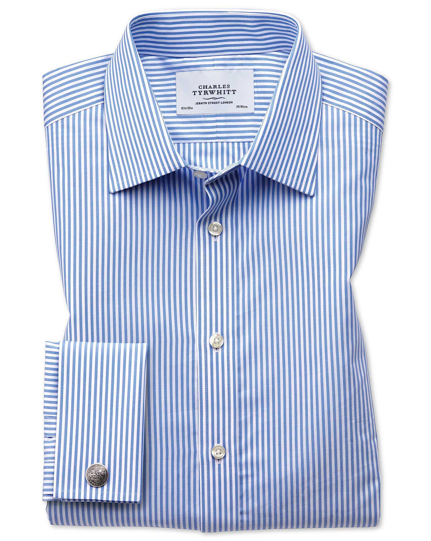 Slim Fit Bengal Stripe Sky Blue Cotton Formal Shirt Single Cuff Size 17.5/35 by Charles Tyrwhitt