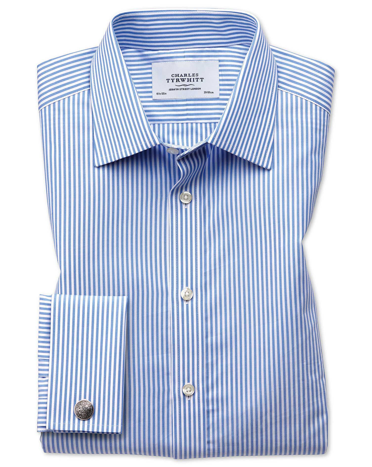 Extra Slim Fit Bengal Stripe Sky Blue Cotton Formal Shirt Double Cuff Size 17/33 by Charles Tyrwhitt
