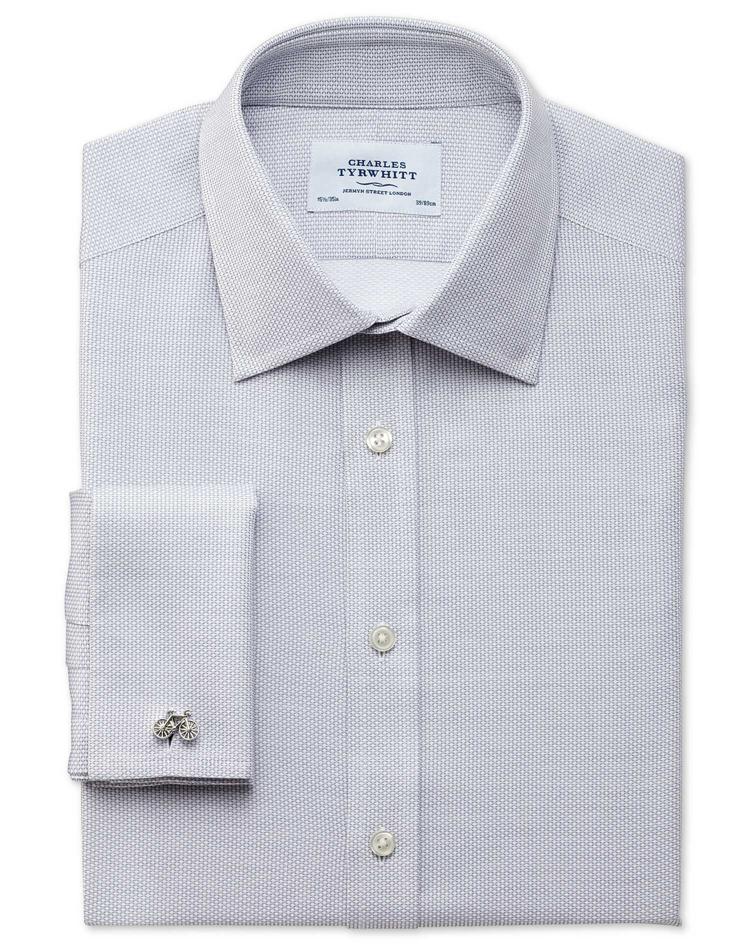 Classic Fit Egyptian Cotton Diamond Texture Light Grey Formal Shirt Double Cuff Size 16.5/36 by Char