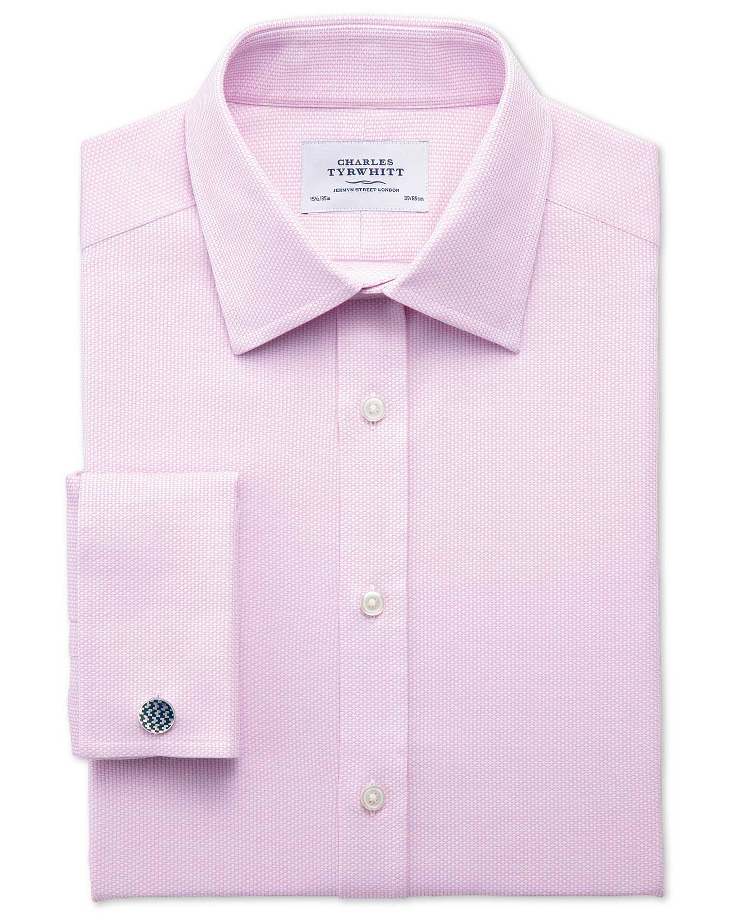 Classic Fit Egyptian Cotton Diamond Texture Pink Formal Shirt Single Cuff Size 16/34 by Charles Tyrw