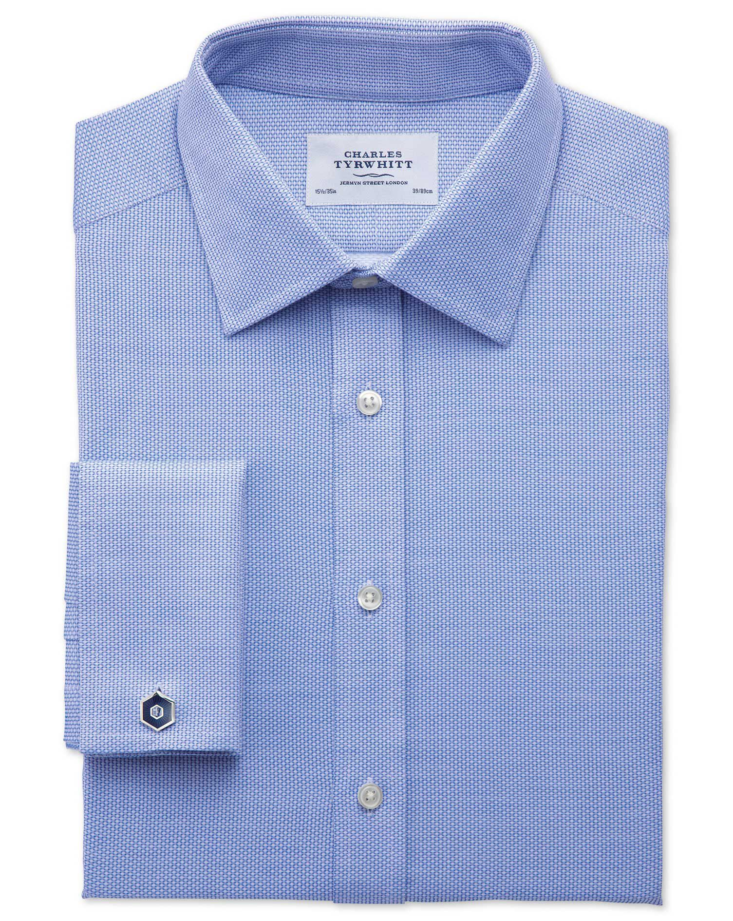 Slim Fit Egyptian Cotton Diamond Texture Mid Blue Formal Shirt Double Cuff Size 16/34 by Charles Tyr