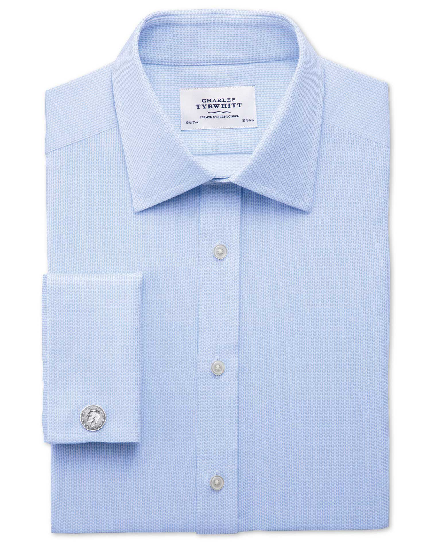 Extra Slim Fit Egyptian Cotton Diamond Texture Sky Blue Formal Shirt Single Cuff Size 16/35 by Charl