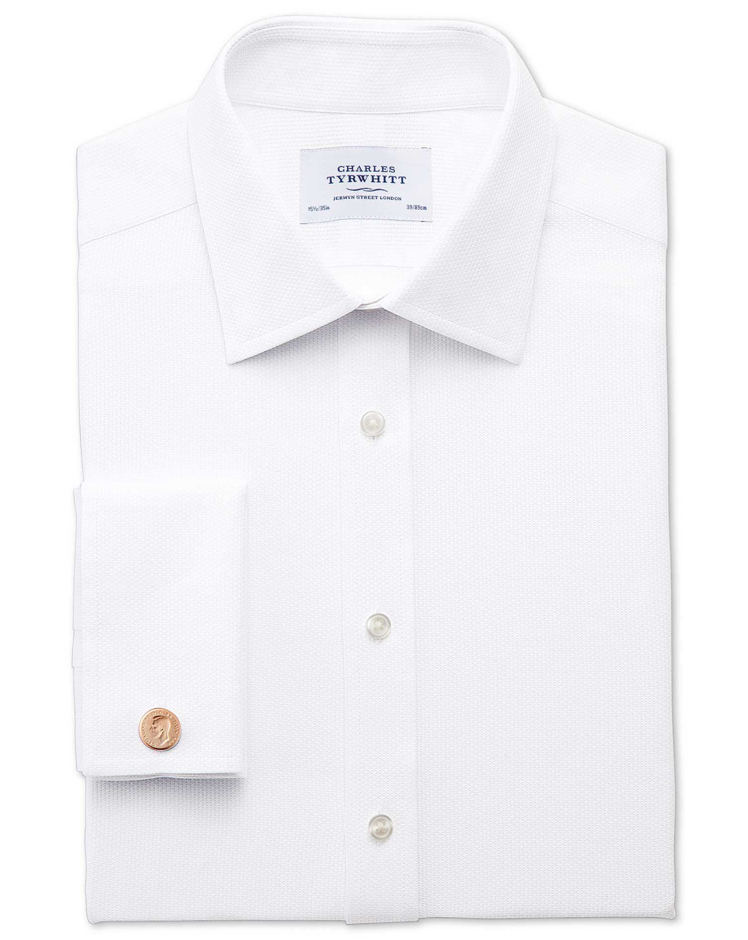 Extra Slim Fit Egyptian Cotton Diamond Texture White Formal Shirt Single Cuff Size 16.5/35 by Charle