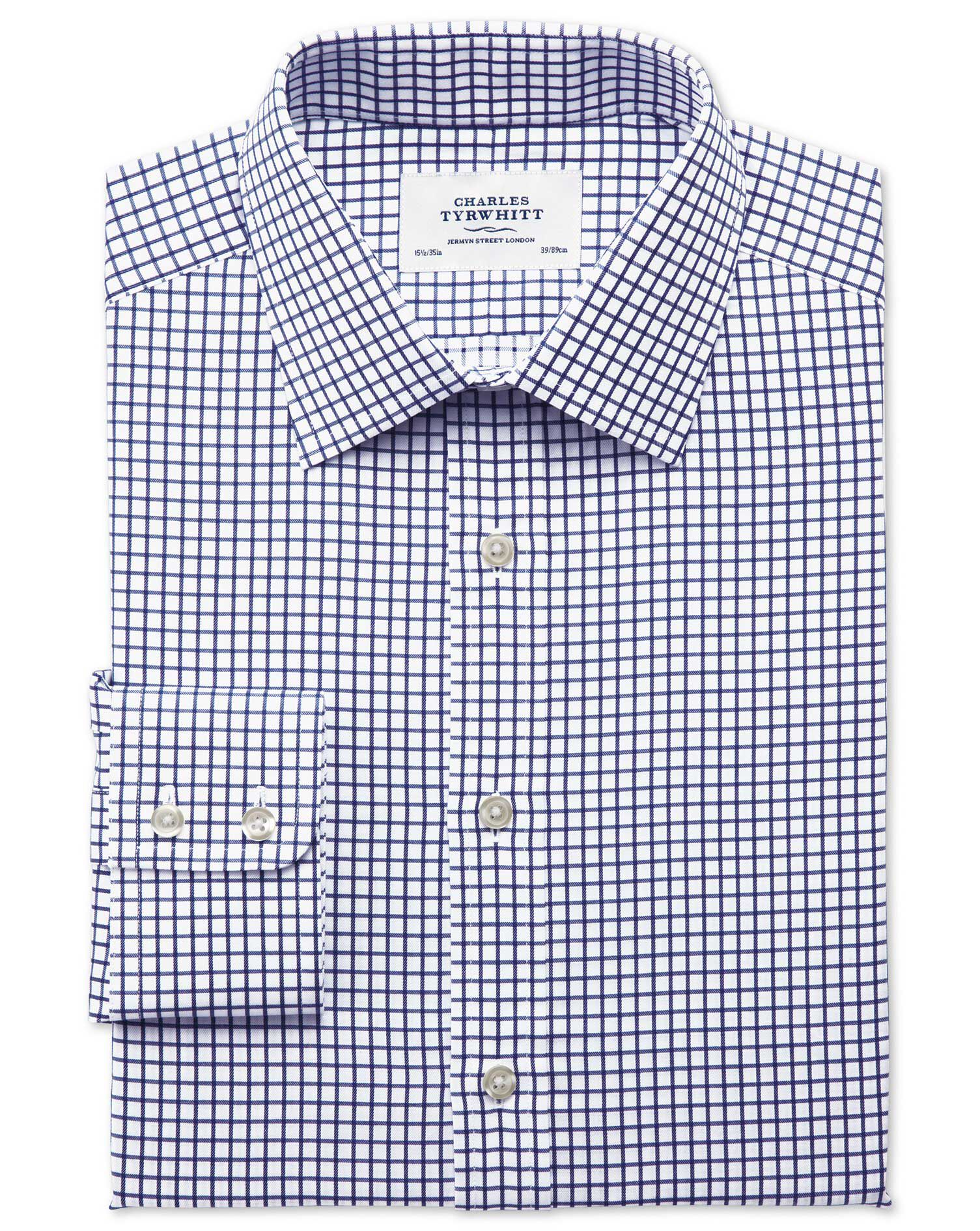 Classic Fit Twill Grid Check Navy Cotton Formal Shirt Single Cuff Size 15.5/32 by Charles Tyrwhitt