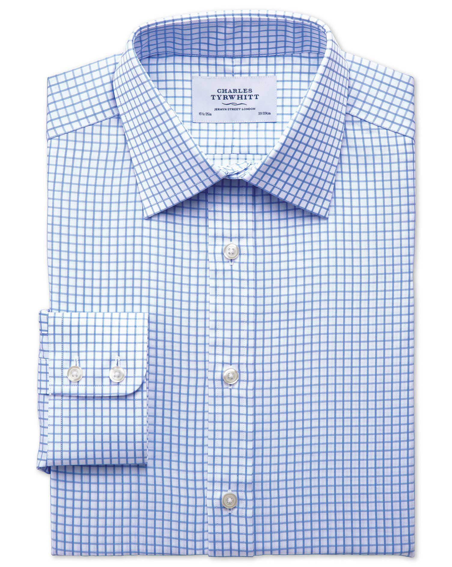 Classic Fit Twill Grid Check Sky Blue Cotton Formal Shirt Single Cuff Size 18/36 by Charles Tyrwhitt