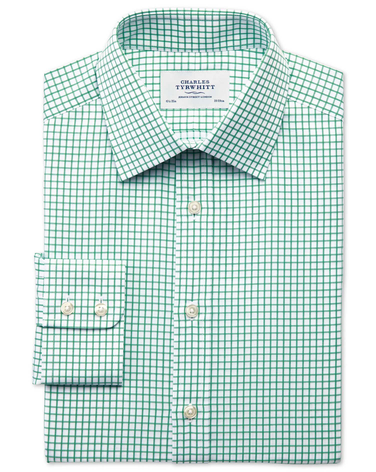 Slim Fit Twill Grid Check Green Cotton Formal Shirt Single Cuff Size 17.5/34 by Charles Tyrwhitt
