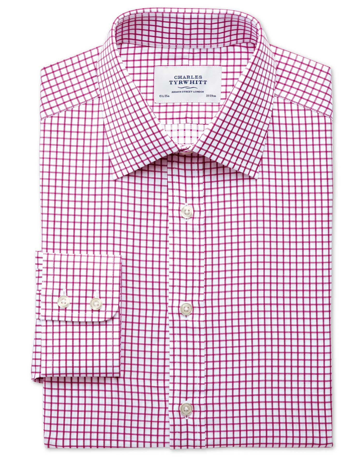 Extra Slim Fit Twill Grid Check Fuchsia Cotton Formal Shirt Single Cuff Size 17/34 by Charles Tyrwhi