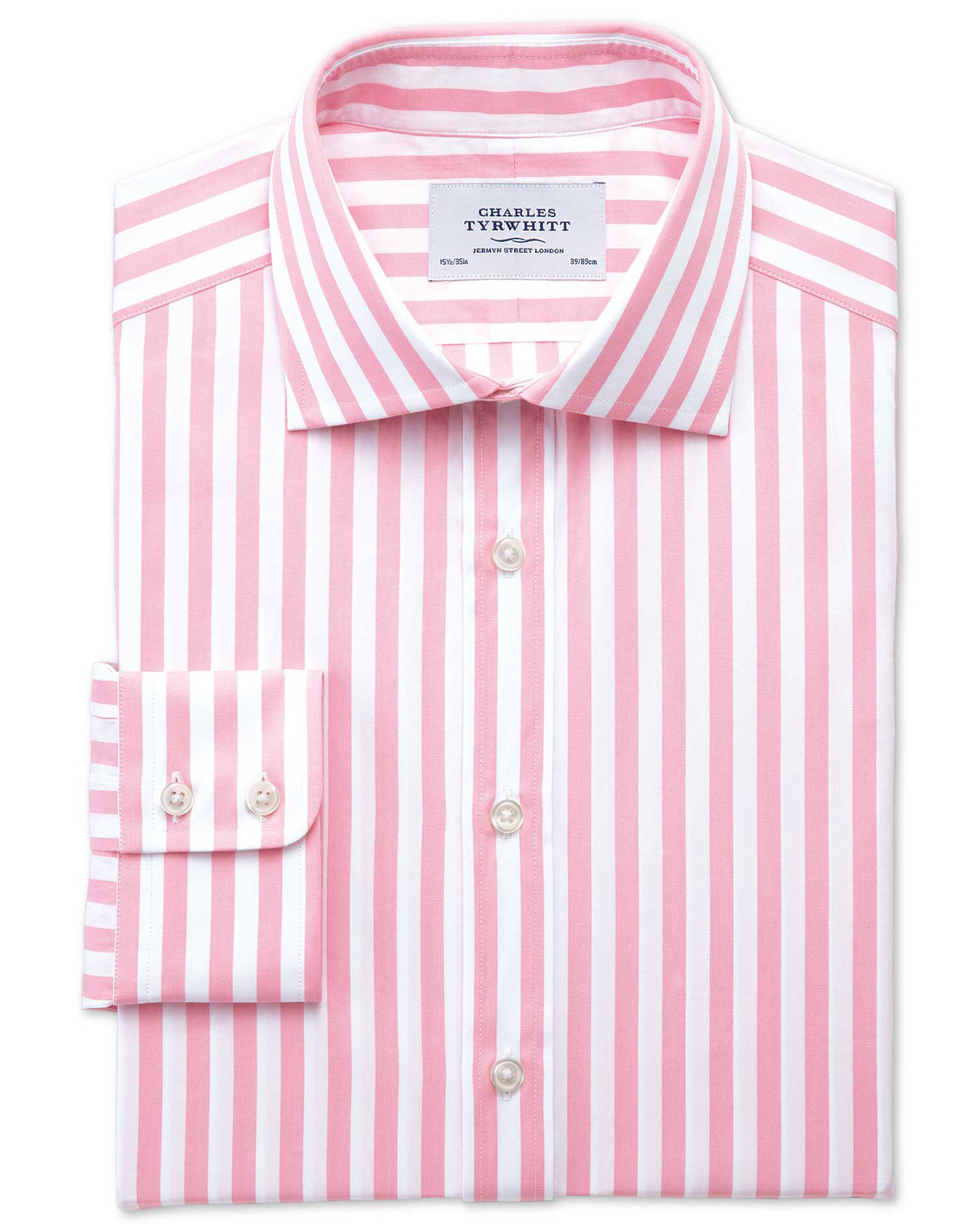 Classic Fit Semi-Cutaway Collar Egyptian Cotton Stripe Pink Formal Shirt Single Cuff Size 15/33 by C