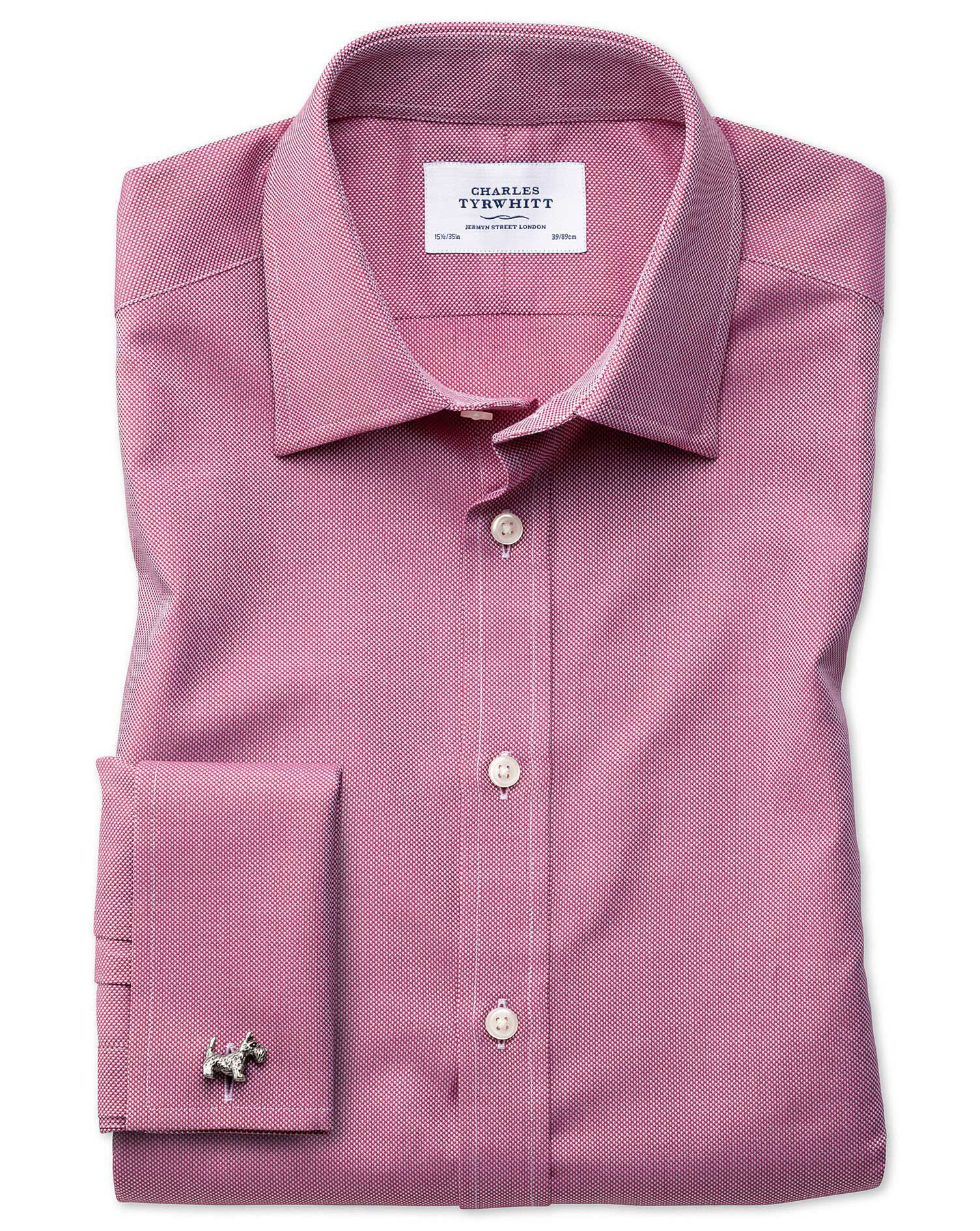 Classic Fit Egyptian Cotton Royal Oxford Magenta Formal Shirt Single Cuff Size 16/36 by Charles Tyrw