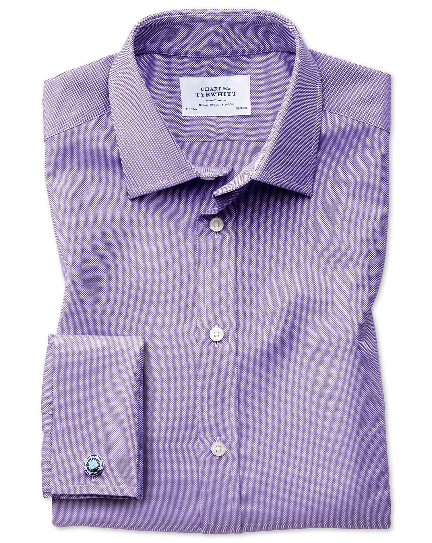 Slim Fit Egyptian Cotton Royal Oxford Lilac Formal Shirt Single Cuff Size 15/33 by Charles Tyrwhitt