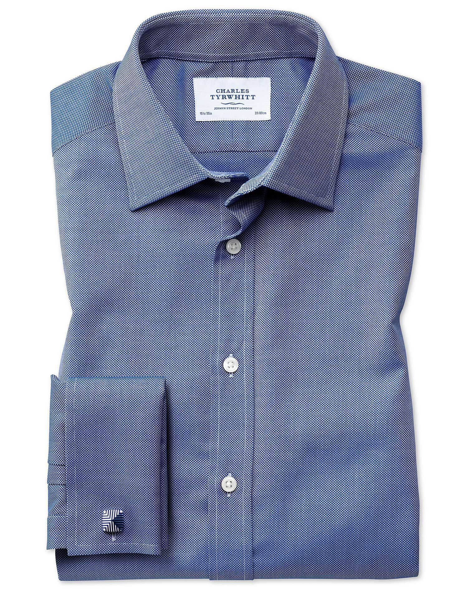 Extra Slim Fit Egyptian Cotton Royal Oxford Royal Blue Formal Shirt Single Cuff Size 16.5/33 by Char
