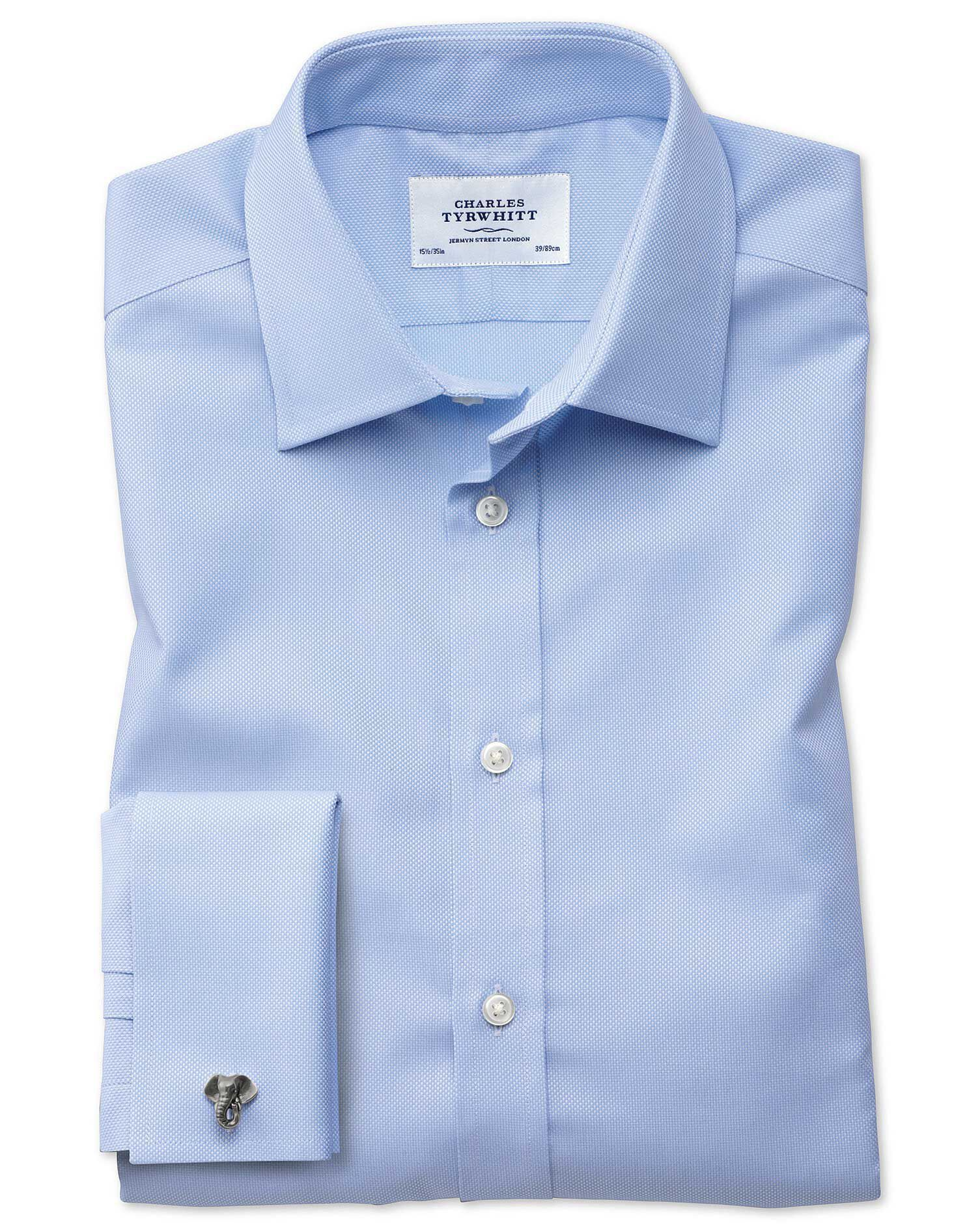 Extra Slim Fit Egyptian Cotton Royal Oxford Sky Blue Formal Shirt Single Cuff Size 14.5/32 by Charle