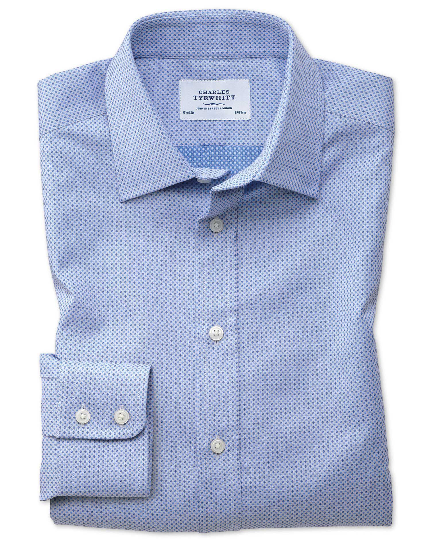 Classic Fit Egyptian Cotton Spot Weave Sky Blue Multi Formal Shirt Single Cuff Size 17.5/34 by Charl