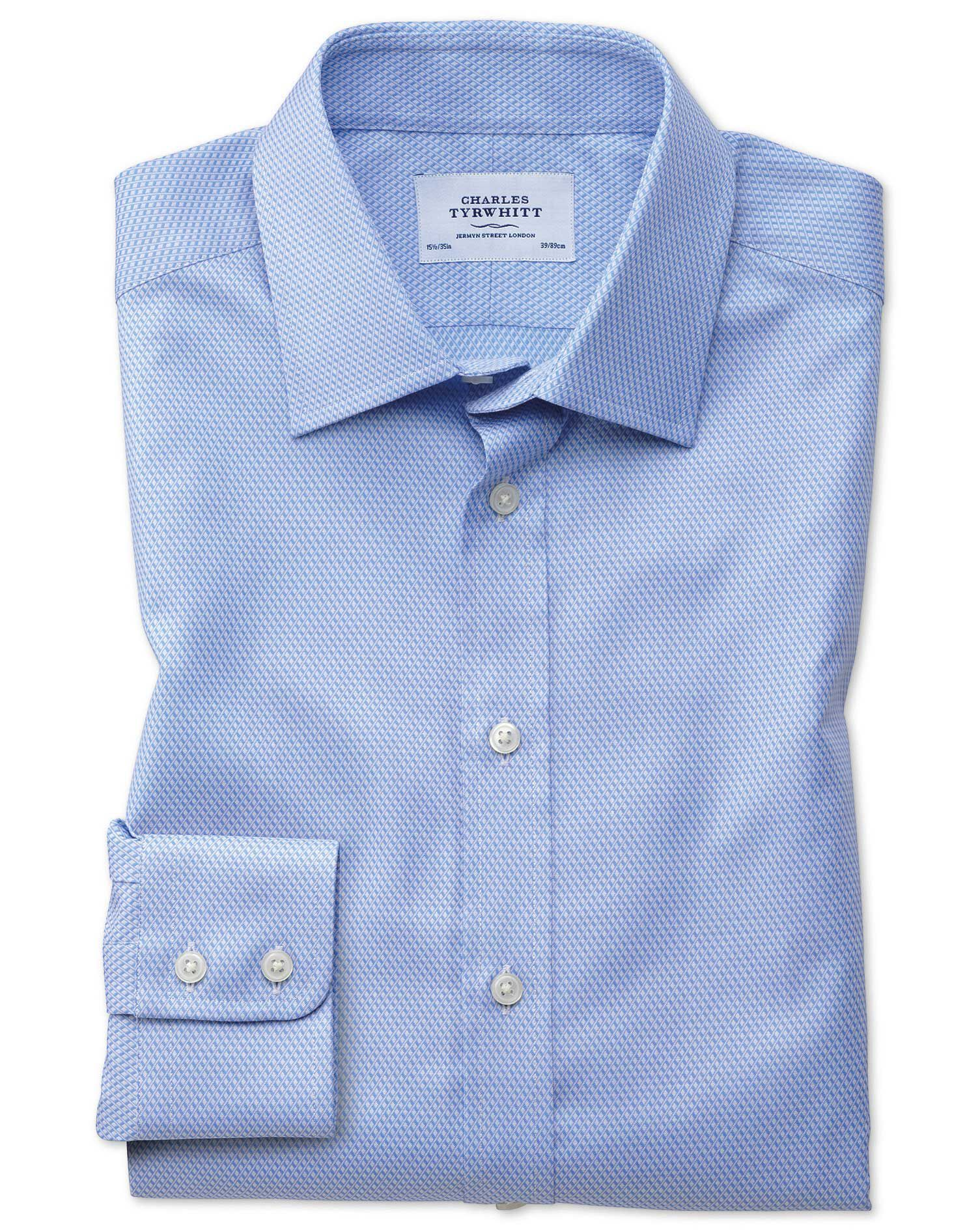 Slim Fit Egyptian Cotton Diamond Pattern Sky Blue Formal Shirt Single Cuff Size 16/33 by Charles Tyr