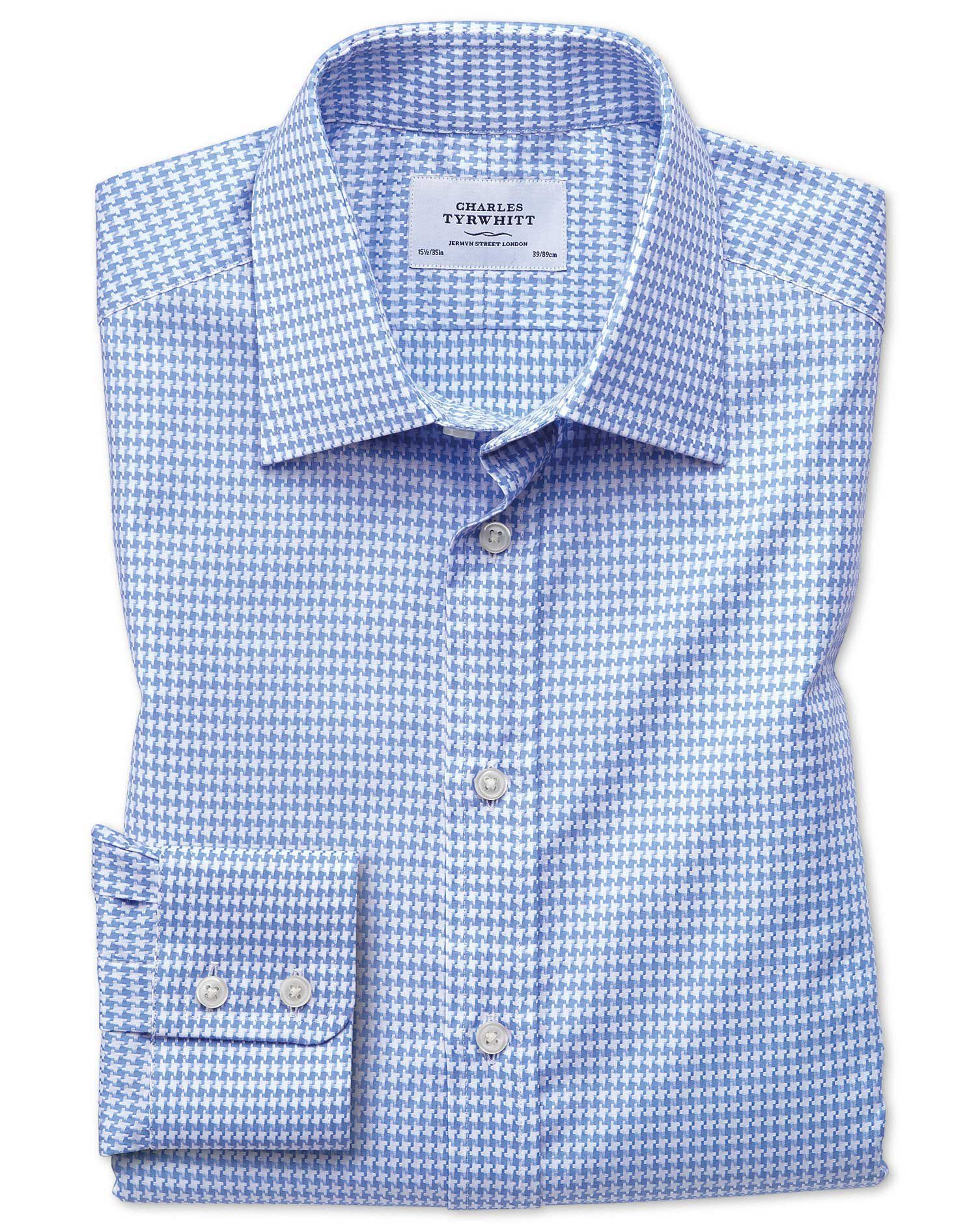 Classic Fit Large Puppytooth Sky Blue Cotton Formal Shirt Single Cuff Size 16/36 by Charles Tyrwhitt