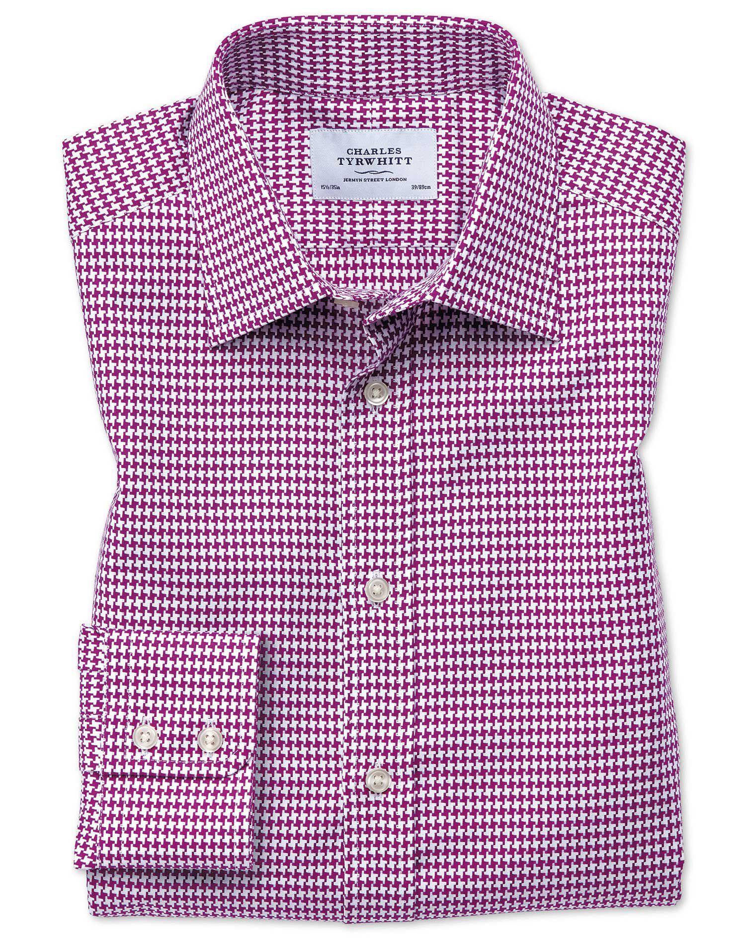 Slim Fit Large Puppytooth Berry Cotton Formal Shirt Single Cuff Size 17.5/34 by Charles Tyrwhitt