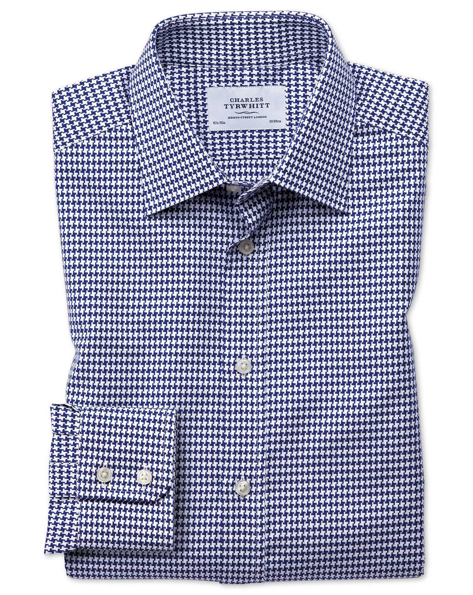 Slim Fit Large Puppytooth Blue Cotton Formal Shirt Single Cuff Size 17/35 by Charles Tyrwhitt