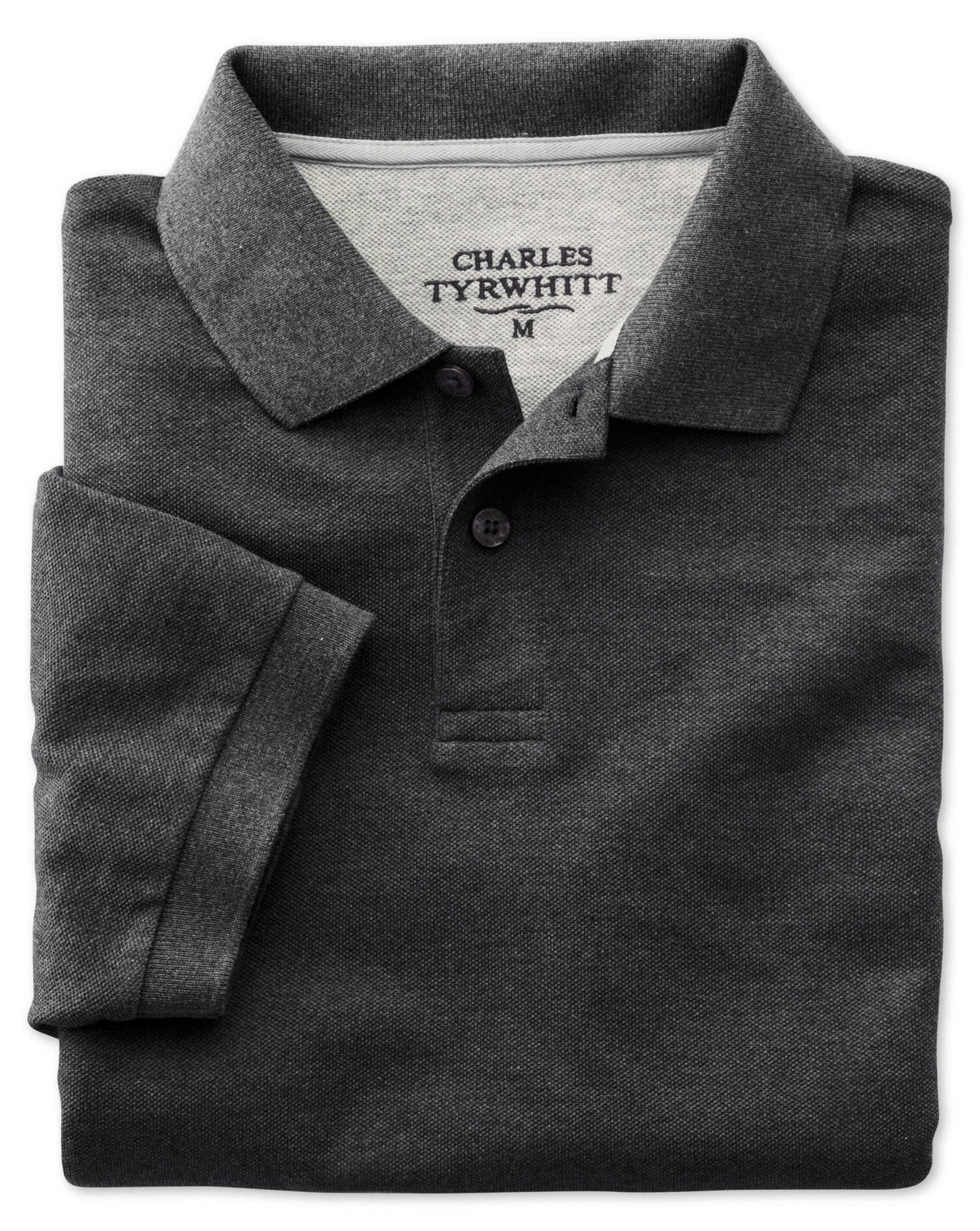 Charcoal Pique Cotton Polo Size XS by Charles Tyrwhitt