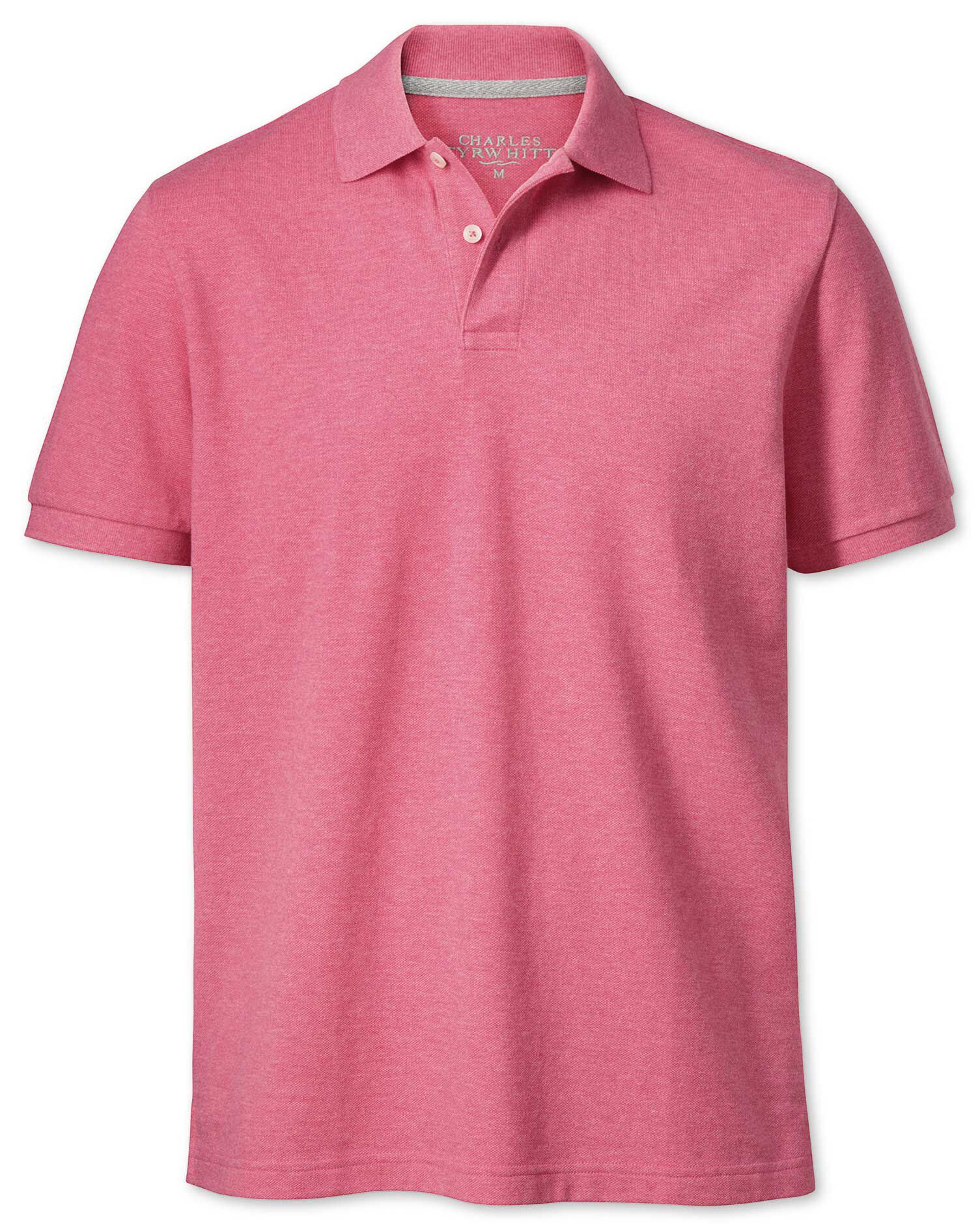 Dark Pink Pique Cotton Polo Size Medium by Charles Tyrwhitt