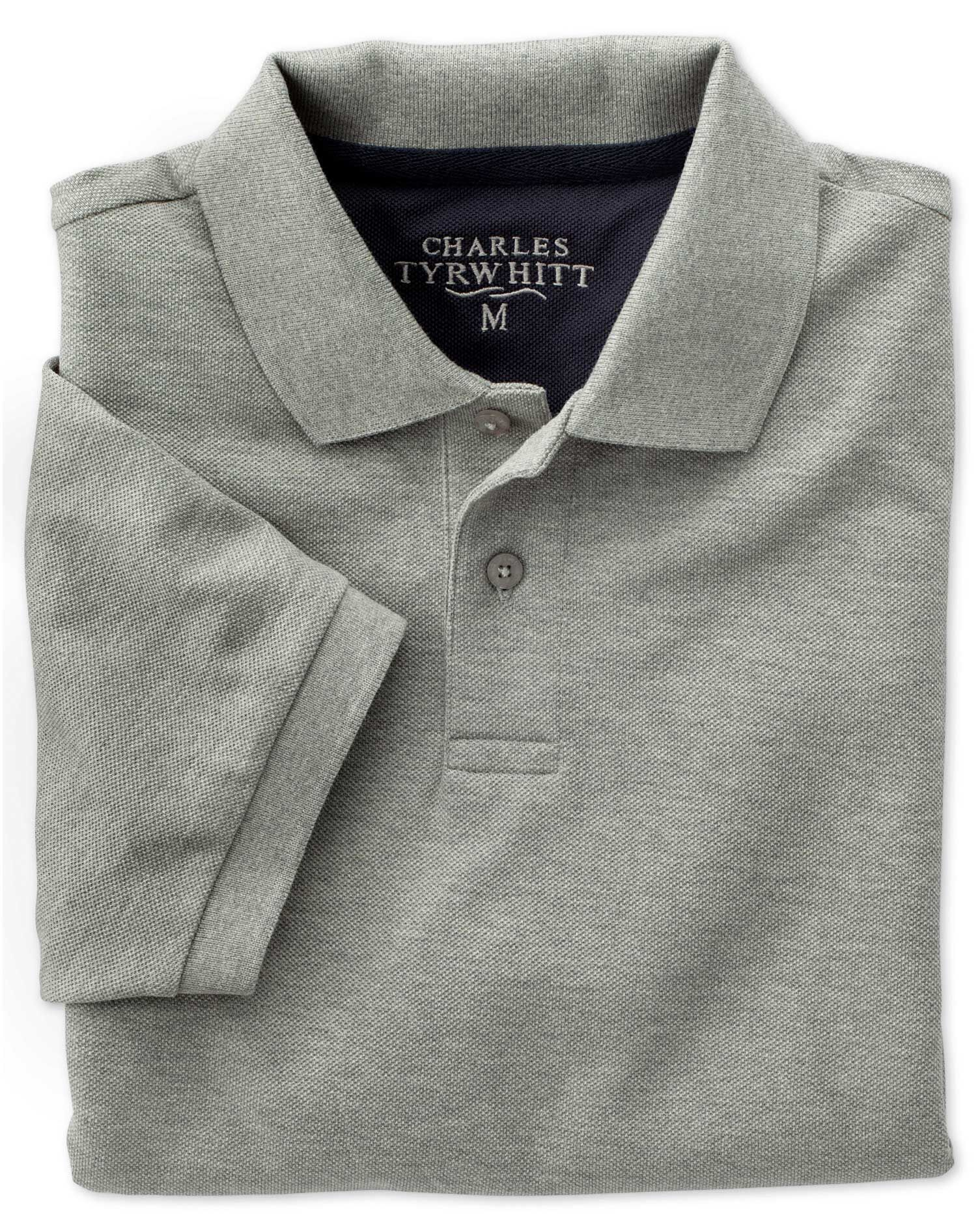 Grey Pique Cotton Polo Size Medium by Charles Tyrwhitt