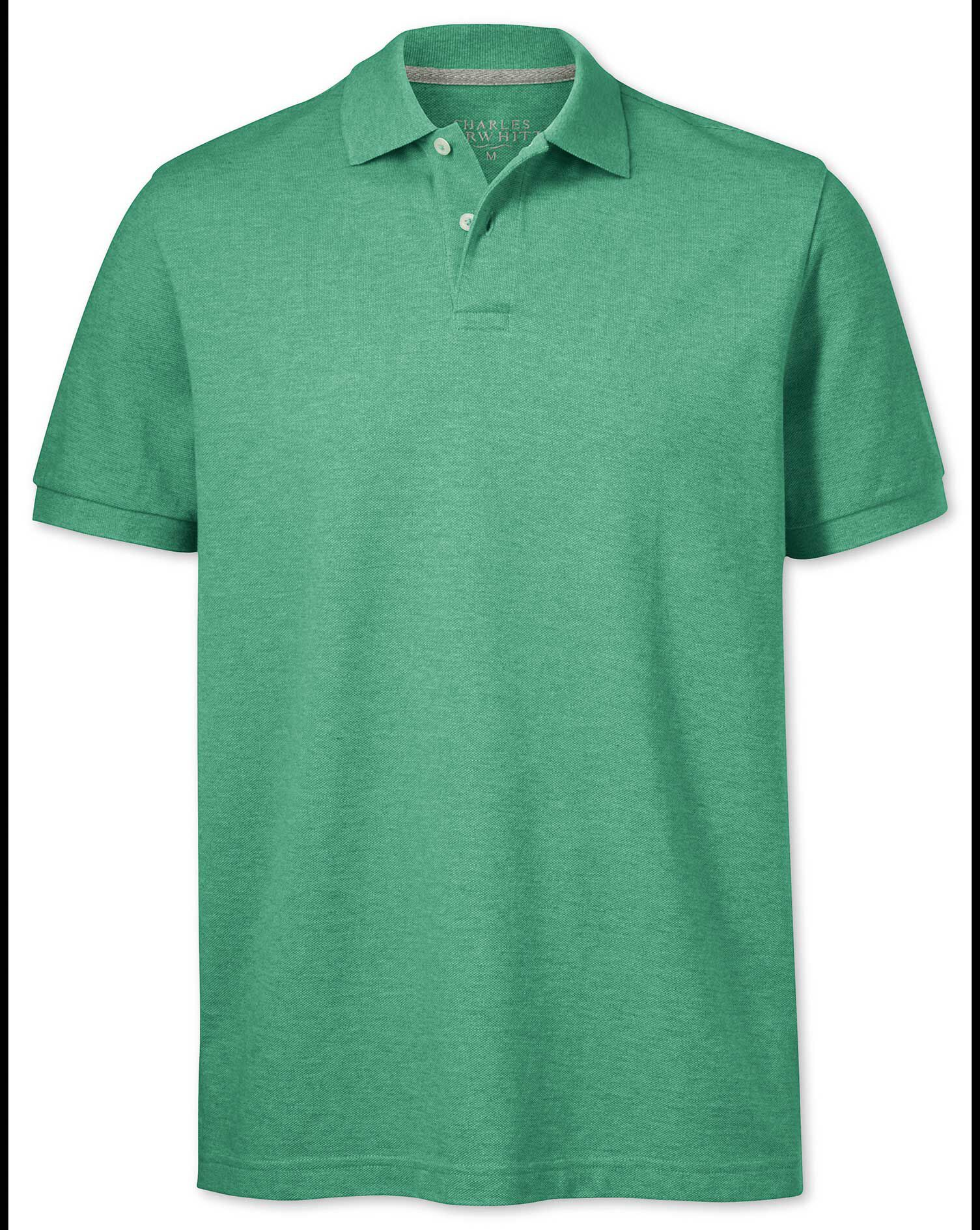 Light Green Pique Cotton Polo Size Small by Charles Tyrwhitt
