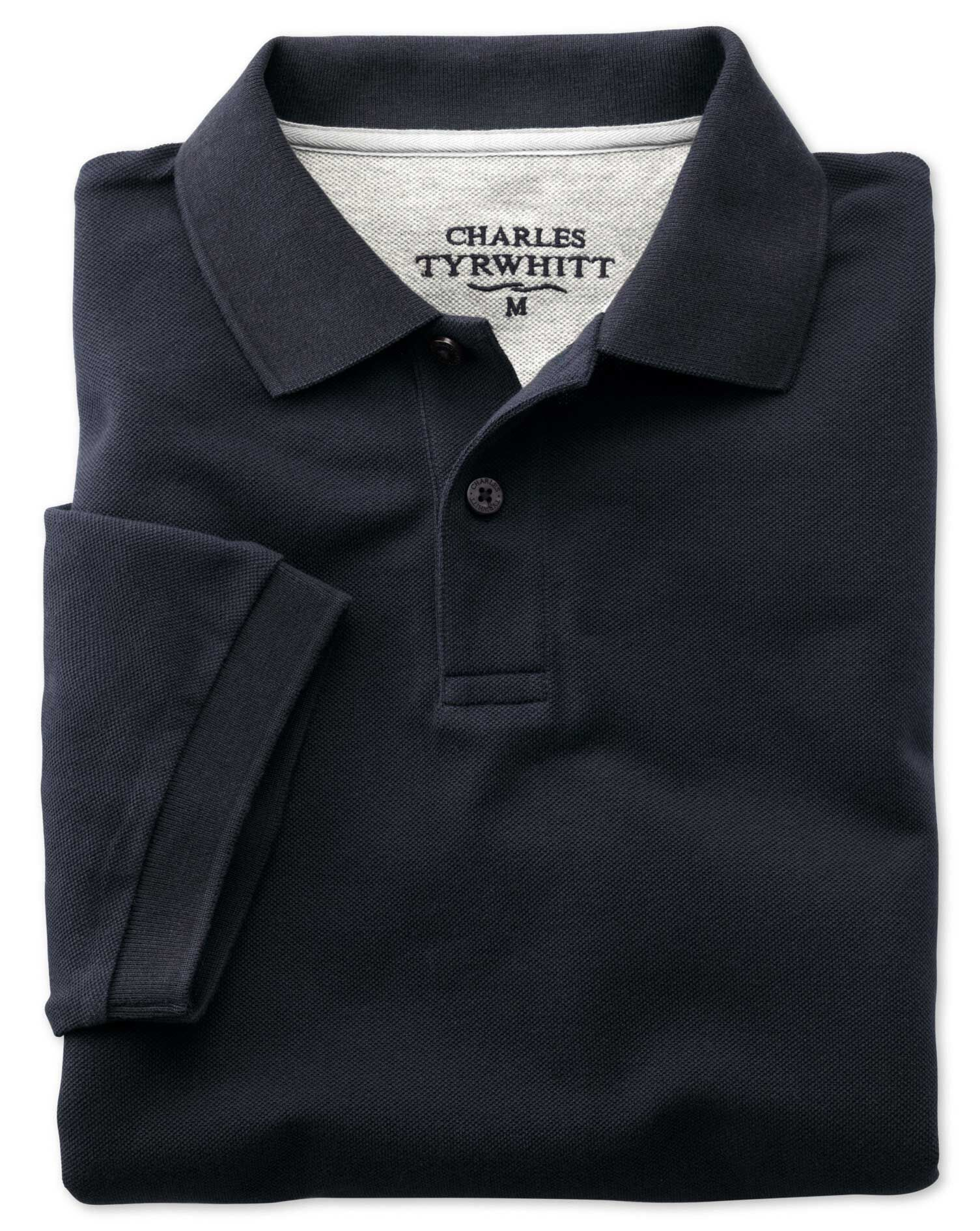 Navy Pique Cotton Polo Size Small by Charles Tyrwhitt
