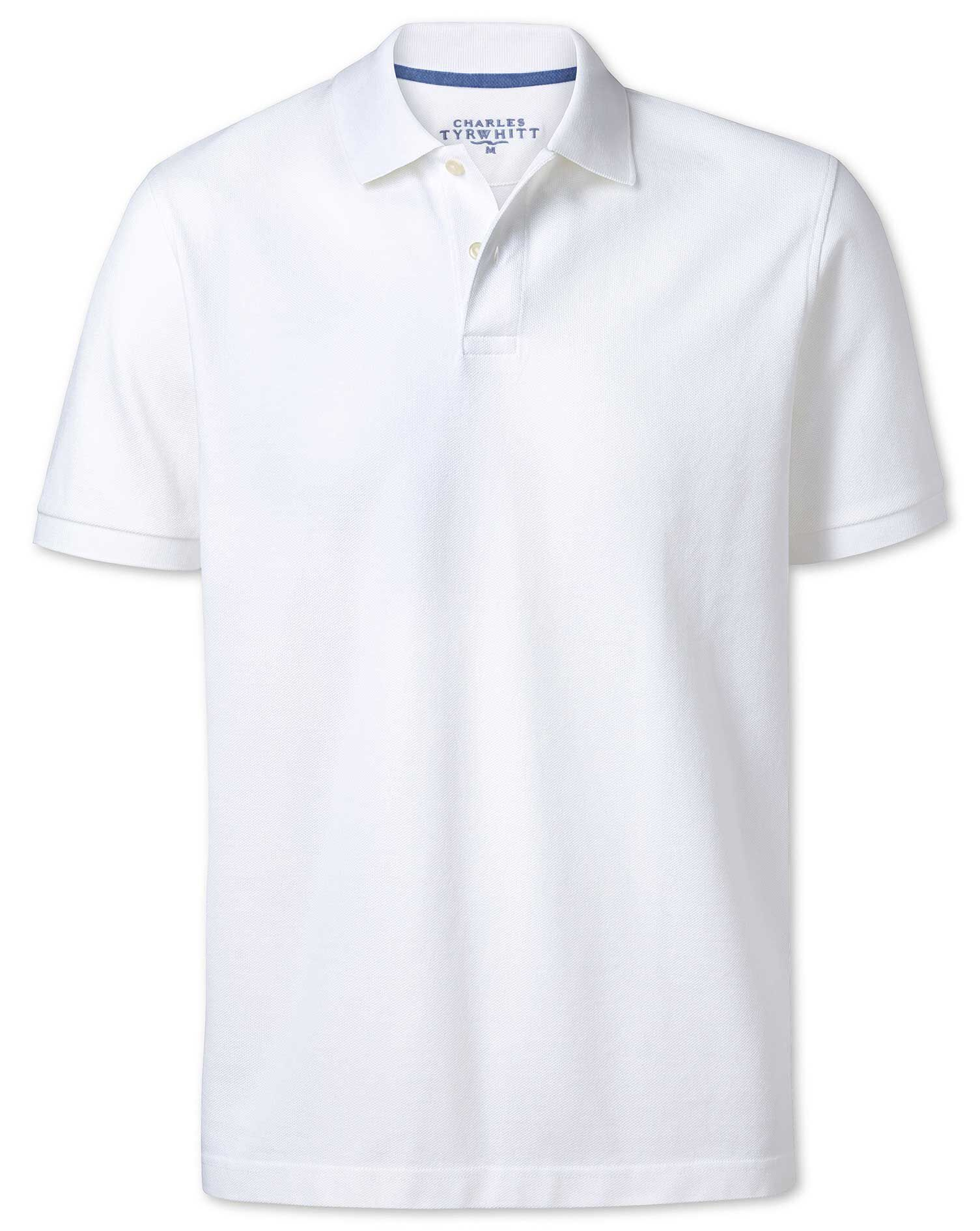 White Pique Cotton Polo Size Large by Charles Tyrwhitt