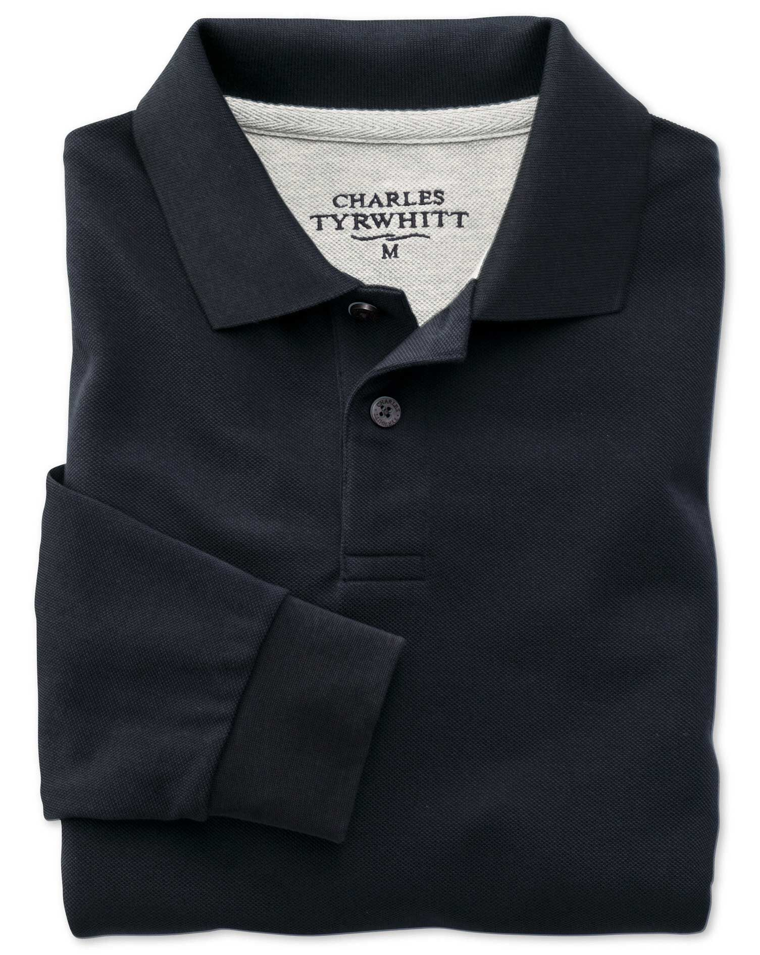 Navy Pique Long Sleeve Cotton Polo Size Large by Charles Tyrwhitt
