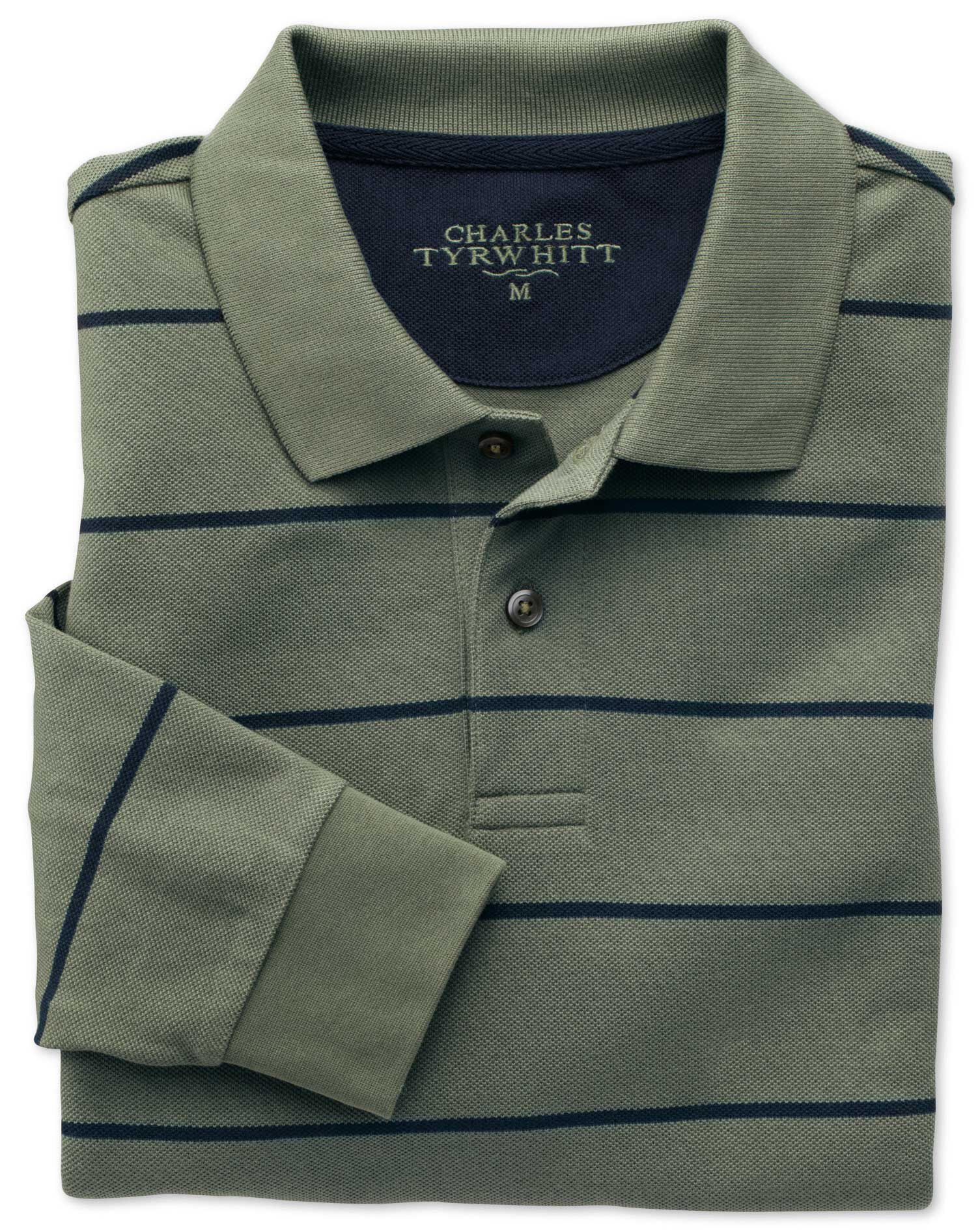 Green and Navy Stripe Pique Long Sleeve Cotton Polo Size Medium by Charles Tyrwhitt