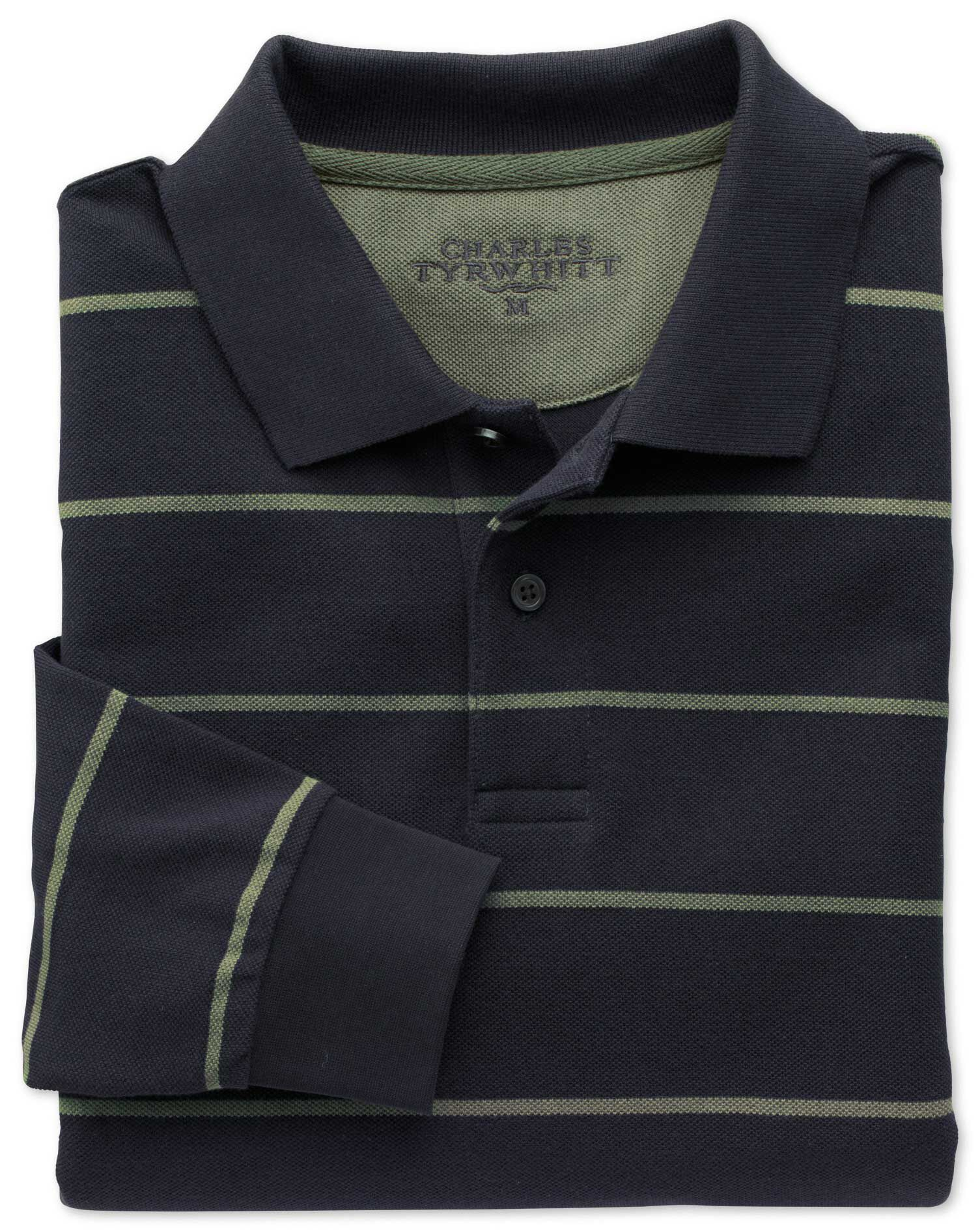 Navy and Green Stripe Pique Long Sleeve Cotton Polo Size XL by Charles Tyrwhitt