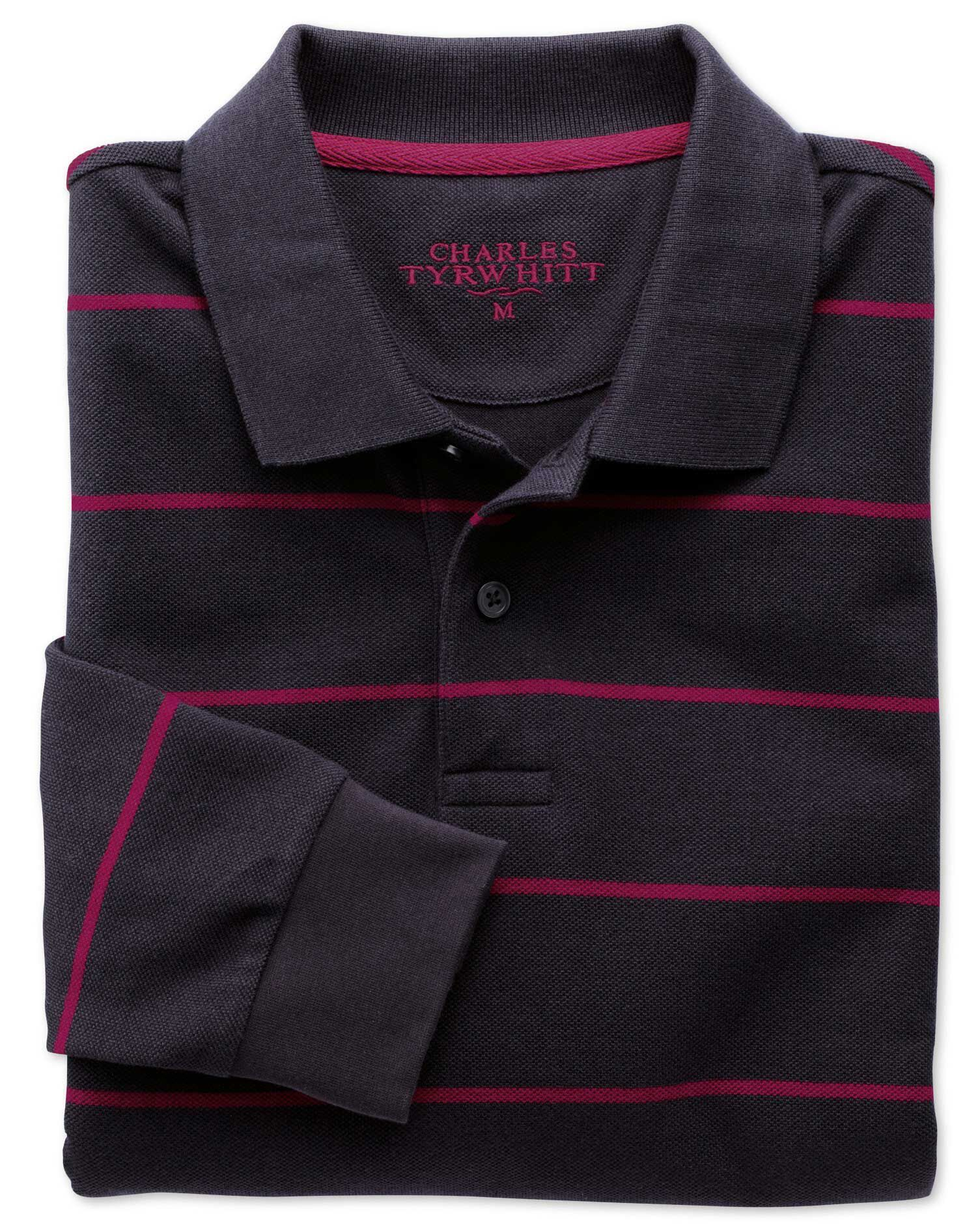 Navy and Berry Stripe Pique Long Sleeve Cotton Polo Size XS by Charles Tyrwhitt