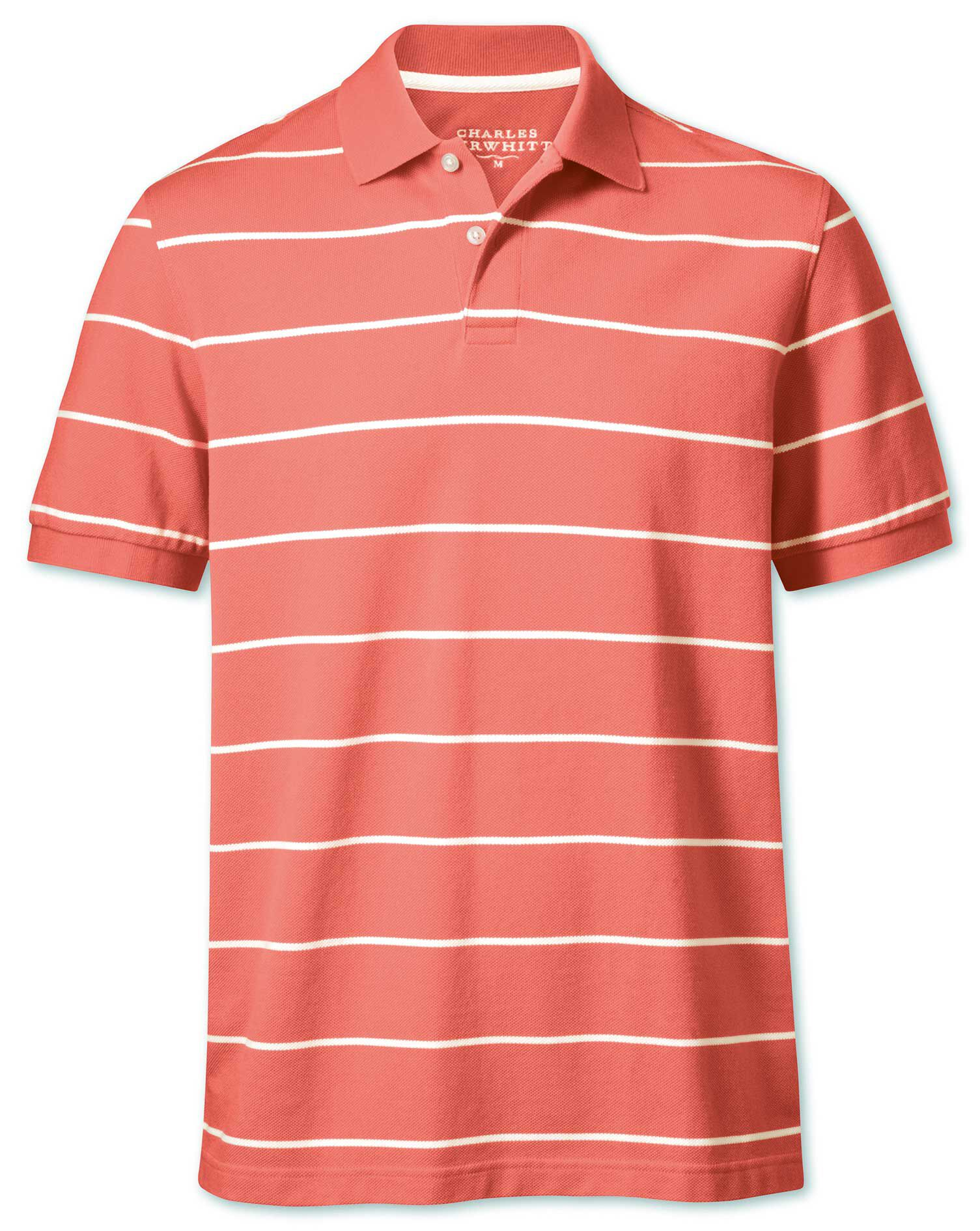 Coral and White Stripe Pique Cotton Polo Size XXL by Charles Tyrwhitt