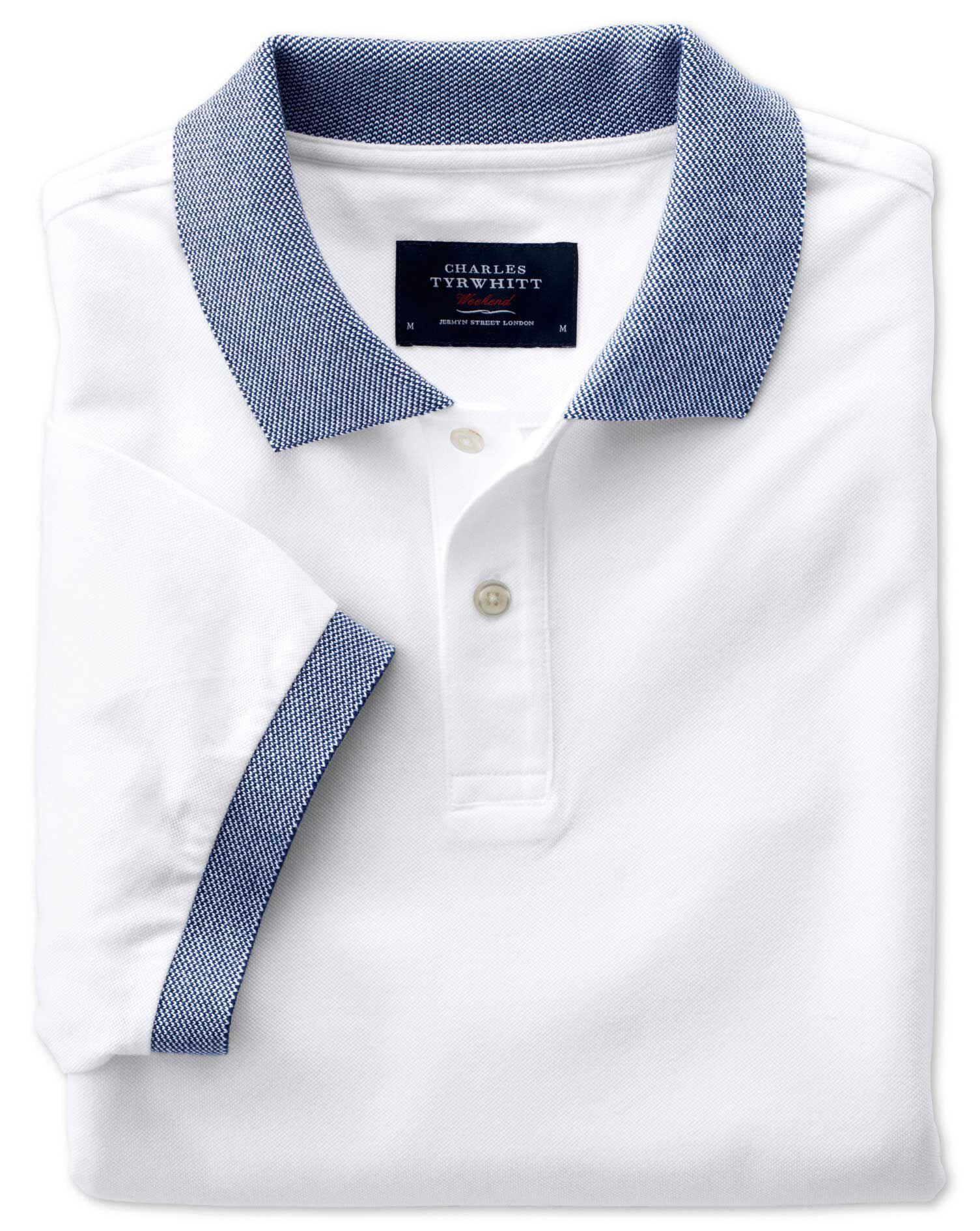 White Oxford Cotton Polo Size XS by Charles Tyrwhitt