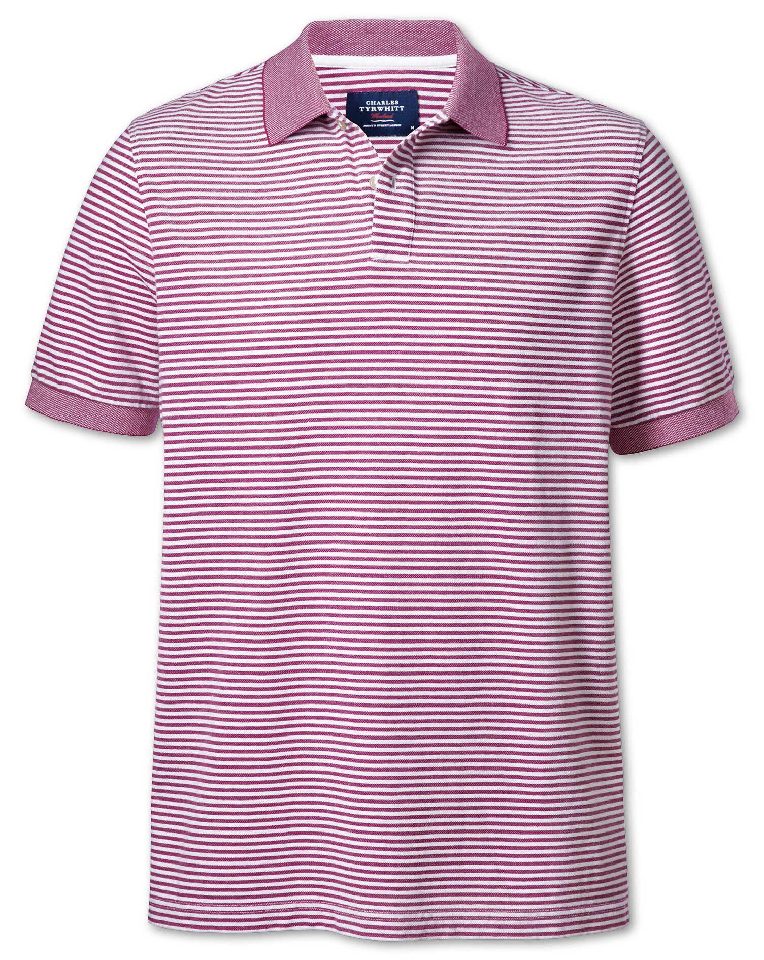 Berry and White Stripe Oxford Cotton Polo Size XXXL by Charles Tyrwhitt