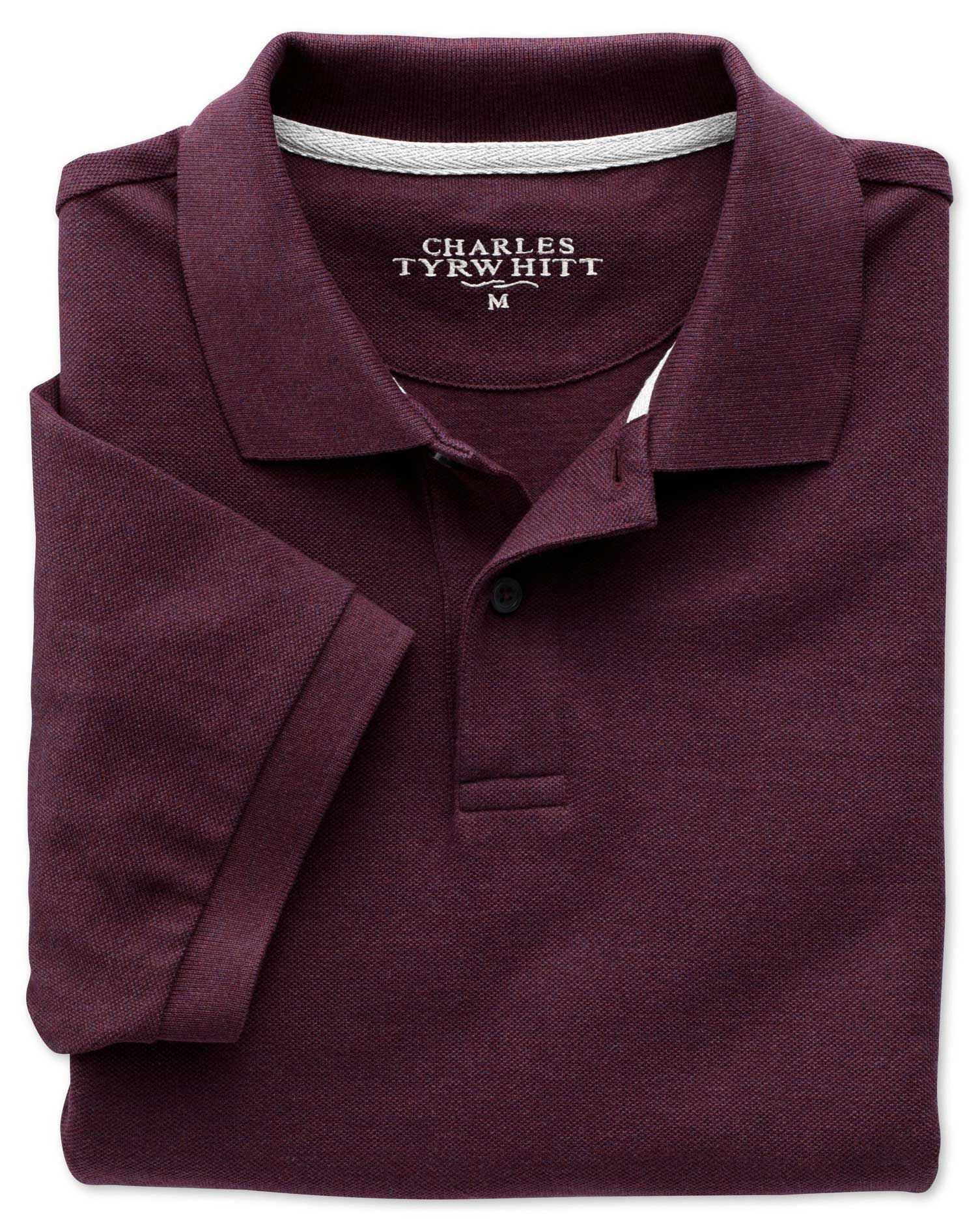 Dark Red Pique Cotton Polo Size XS by Charles Tyrwhitt