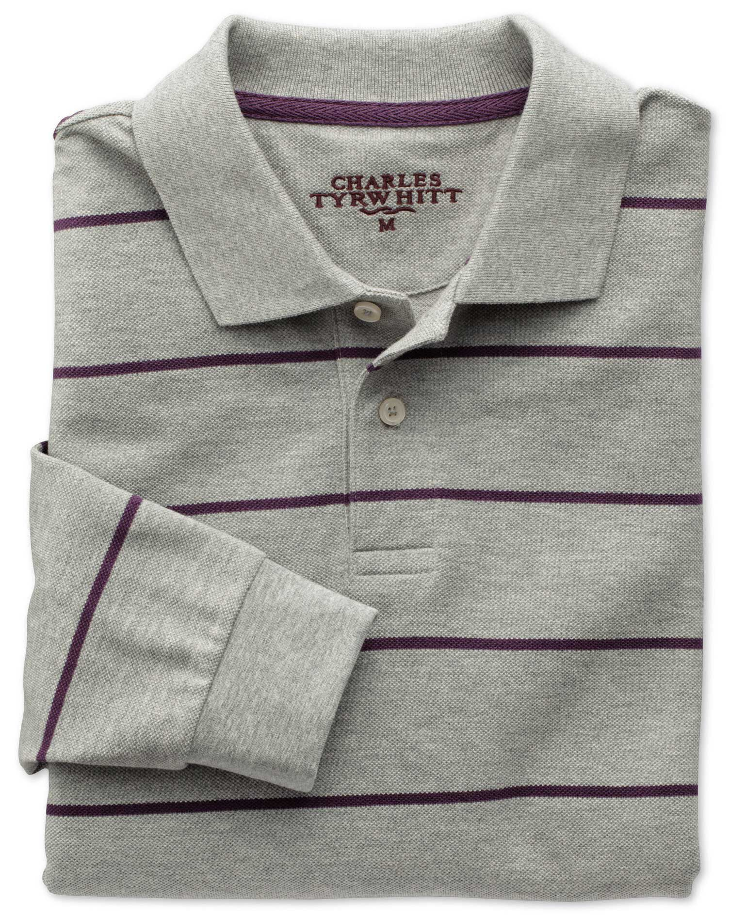 Grey and Purple Stripe Pique Long Sleeve Cotton Polo Size XS by Charles Tyrwhitt