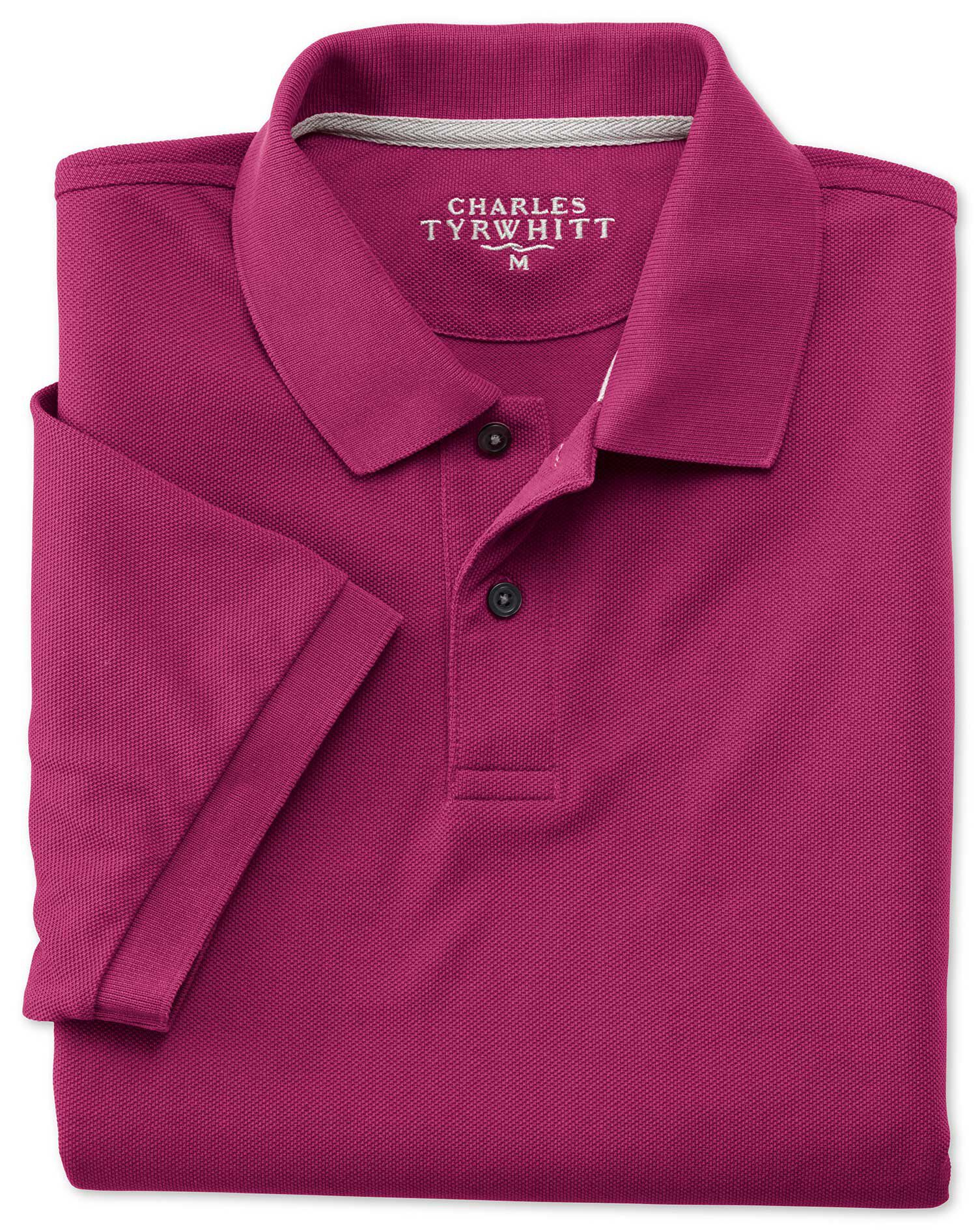 Berry Pique Cotton Polo Size XL by Charles Tyrwhitt