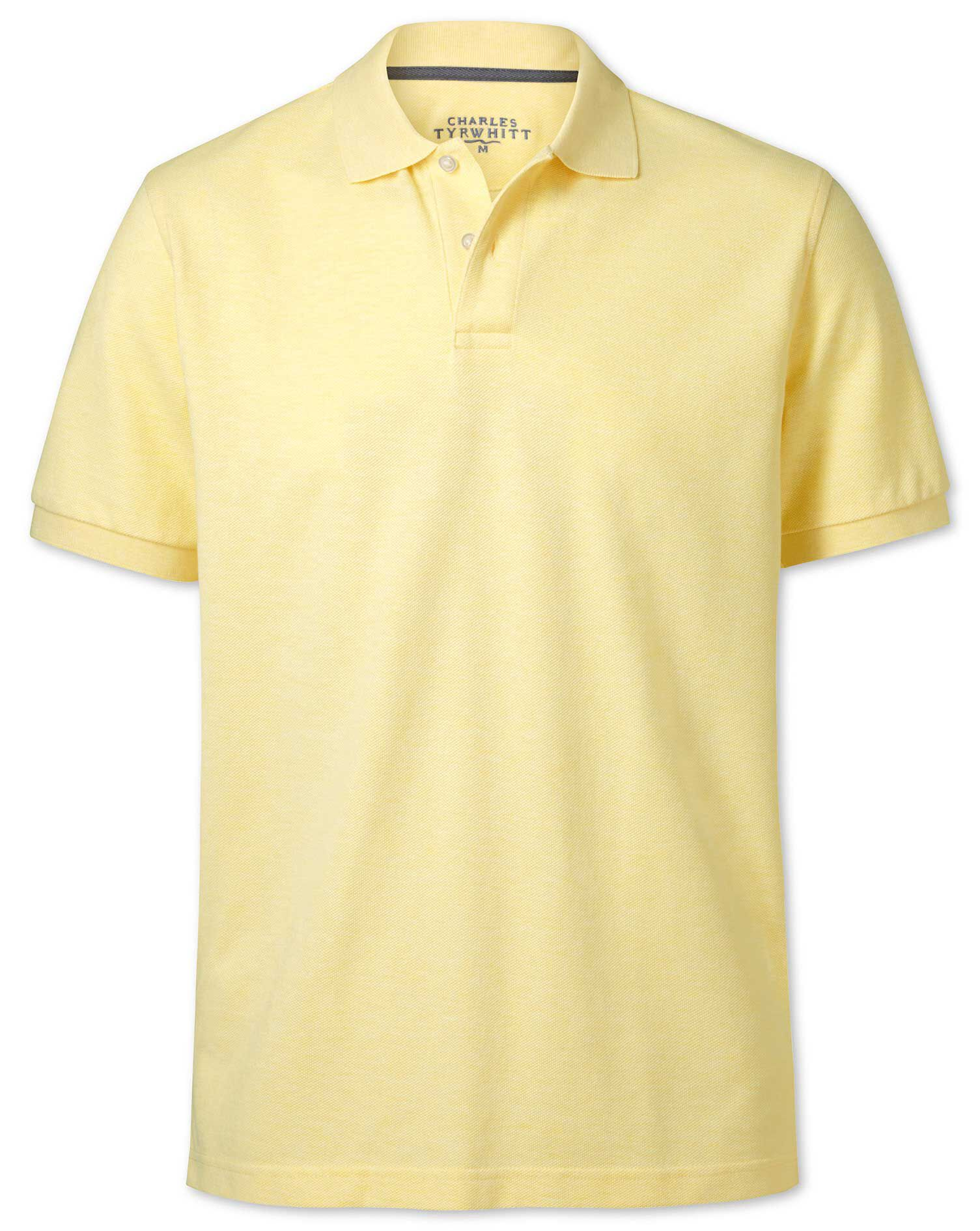 Light Yellow Pique Cotton Polo Size XL by Charles Tyrwhitt