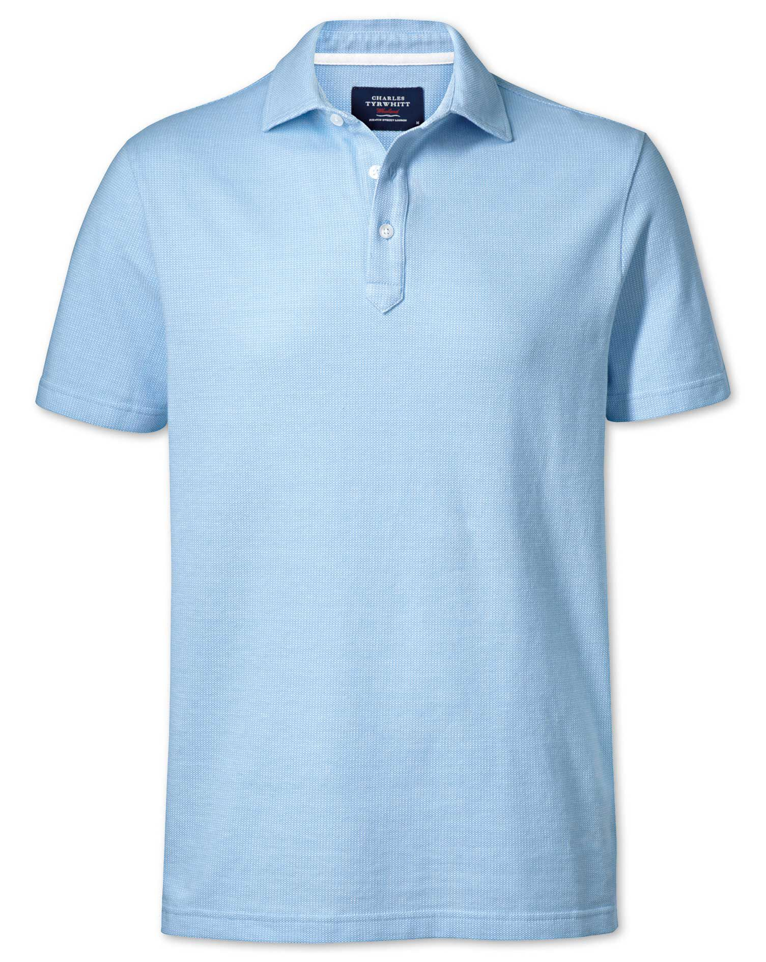 Sky Blue and White Birds Eye Cotton Polo Size XS by Charles Tyrwhitt