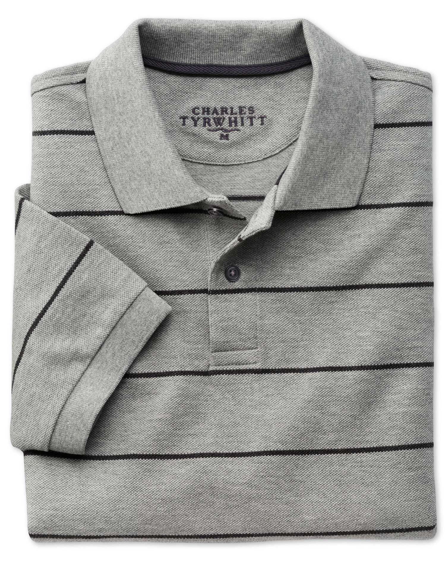 Grey and Charcoal Stripe Pique Cotton Polo Size XXL by Charles Tyrwhitt