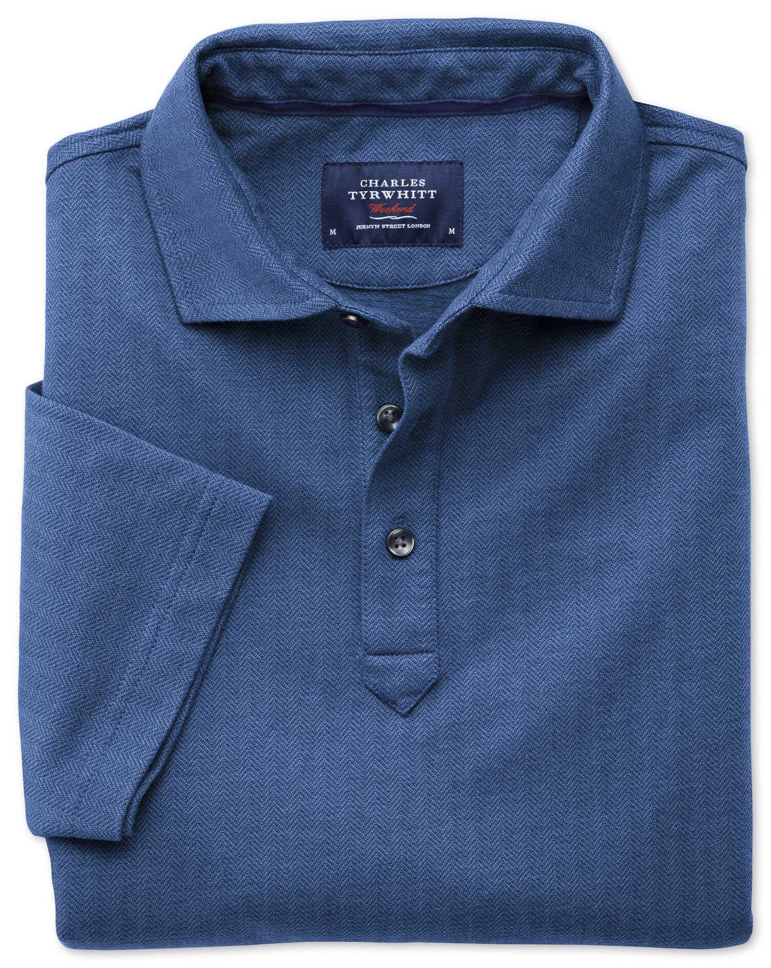 Blue Herringbone Cotton Polo Size Medium by Charles Tyrwhitt