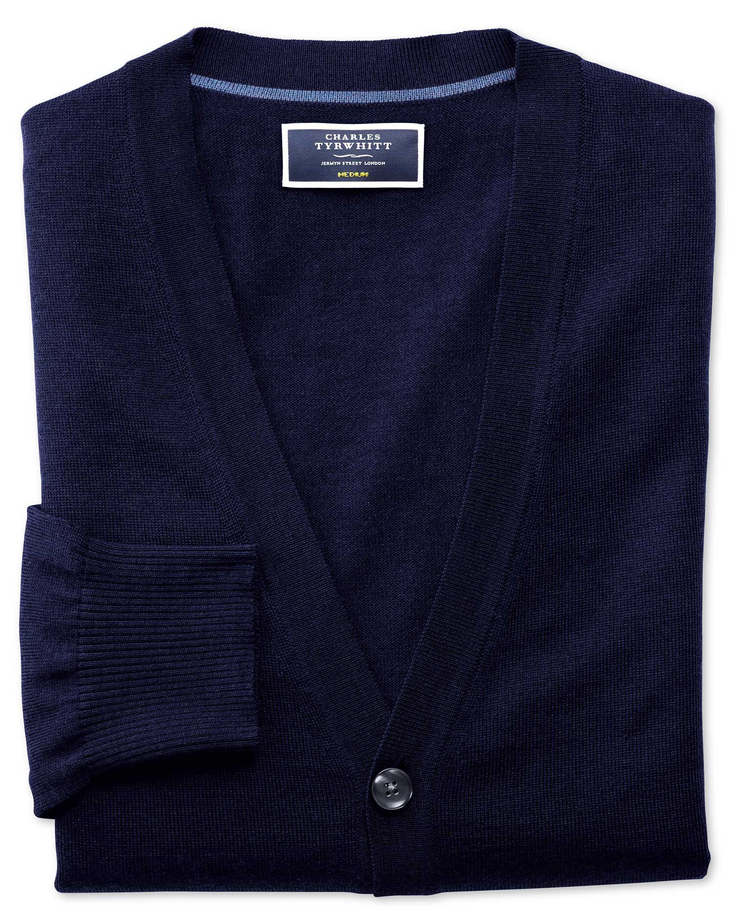 Navy Merino Wool Cardigan Size Large by Charles Tyrwhitt