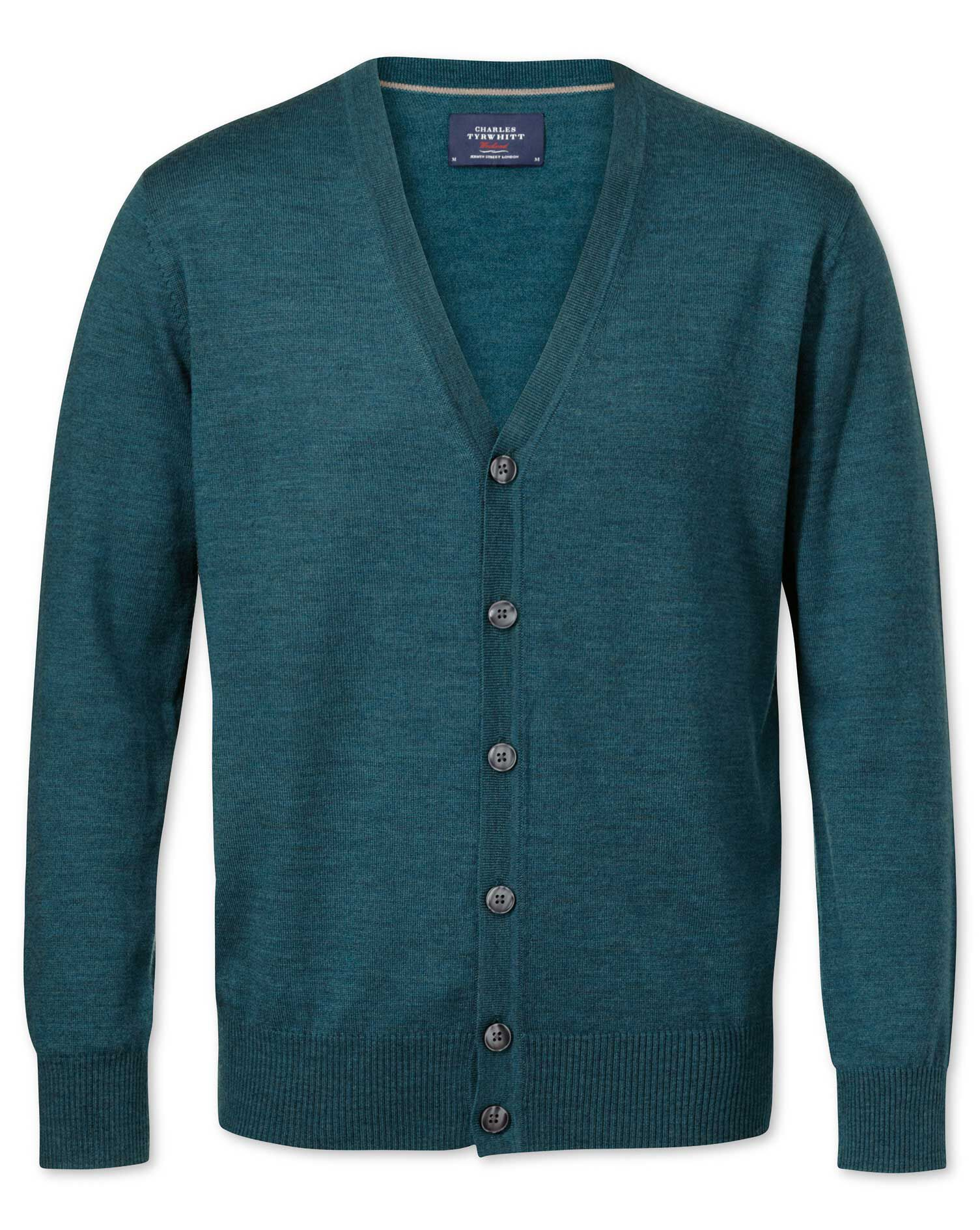 Green Merino Wool Cardigan Size Medium by Charles Tyrwhitt