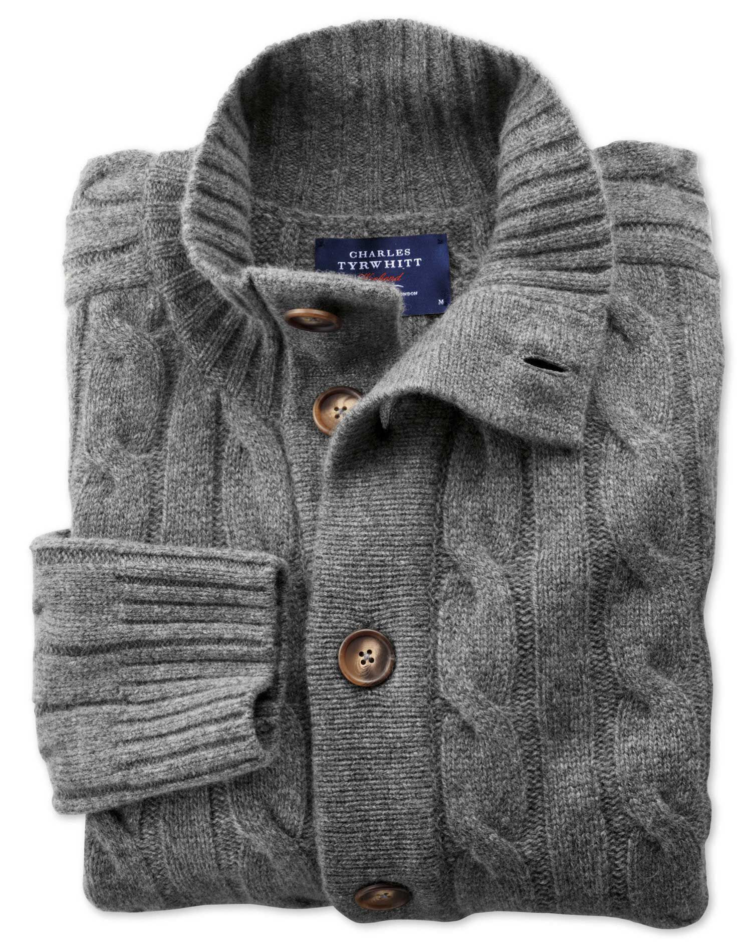 Grey Lambswool Cable Knit Cardigan Size XXL by Charles Tyrwhitt