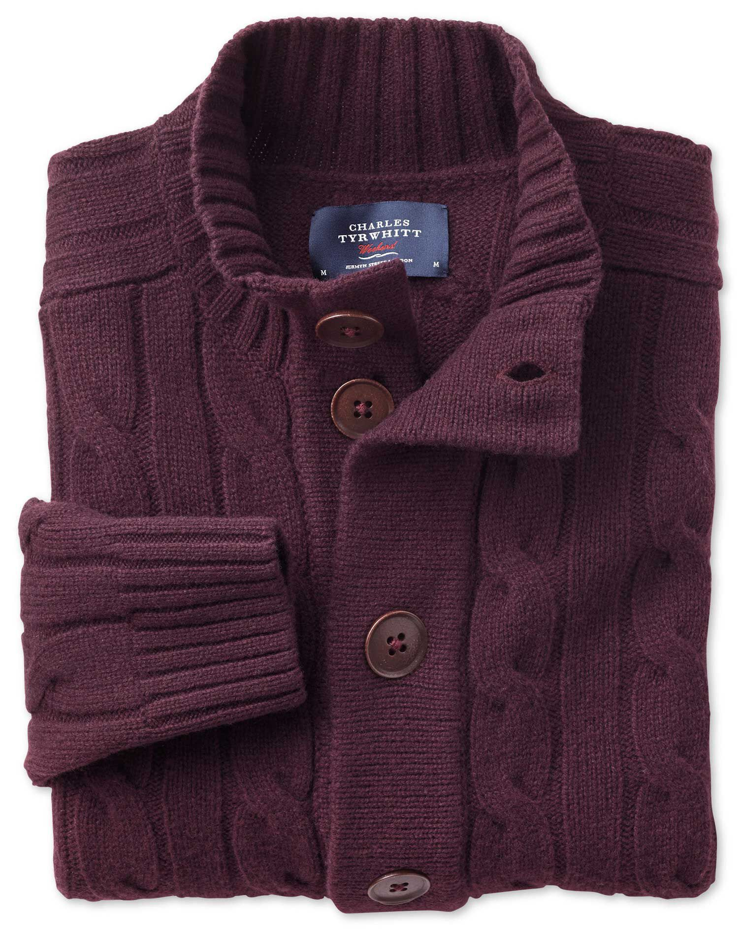 Wine Lambswool Cable Cardigan Size Small by Charles Tyrwhitt