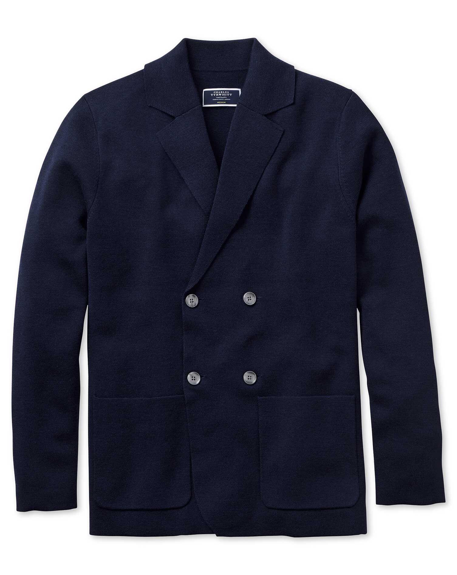 Navy Merino Wool Waistcoat Size Large by Charles Tyrwhitt